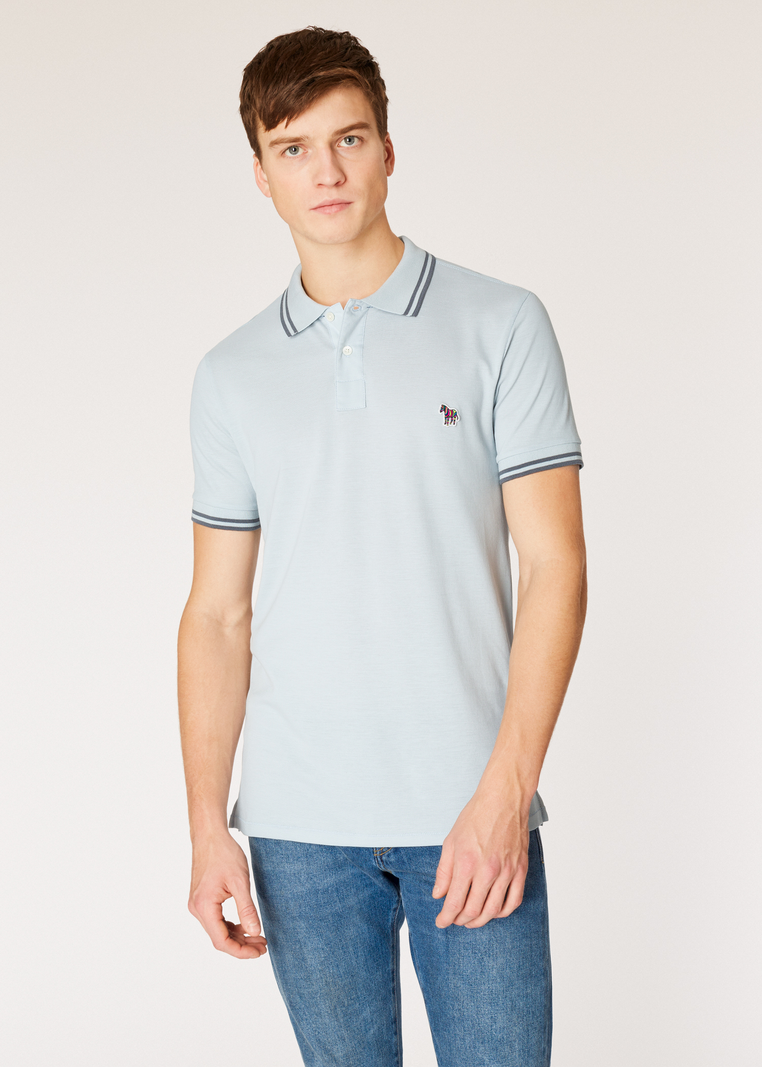 b4f7f8028 Model front view - Men's Slim-Fit Light Blue Zebra Polo Shirt With Grey  Tipping