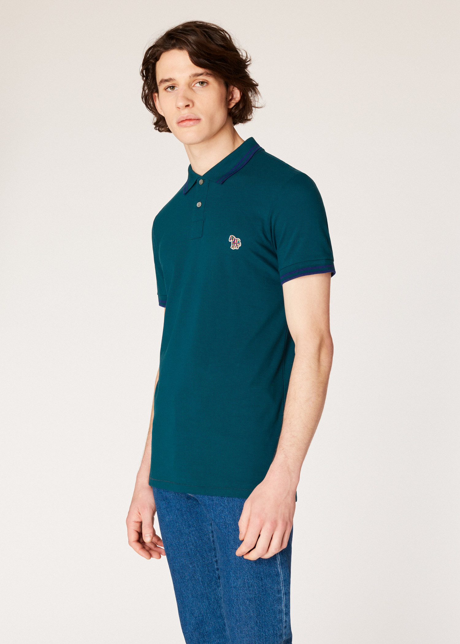 Mens Slim Fit Petrol Zebra Polo Shirt With Navy Tipping Paul Smith Us