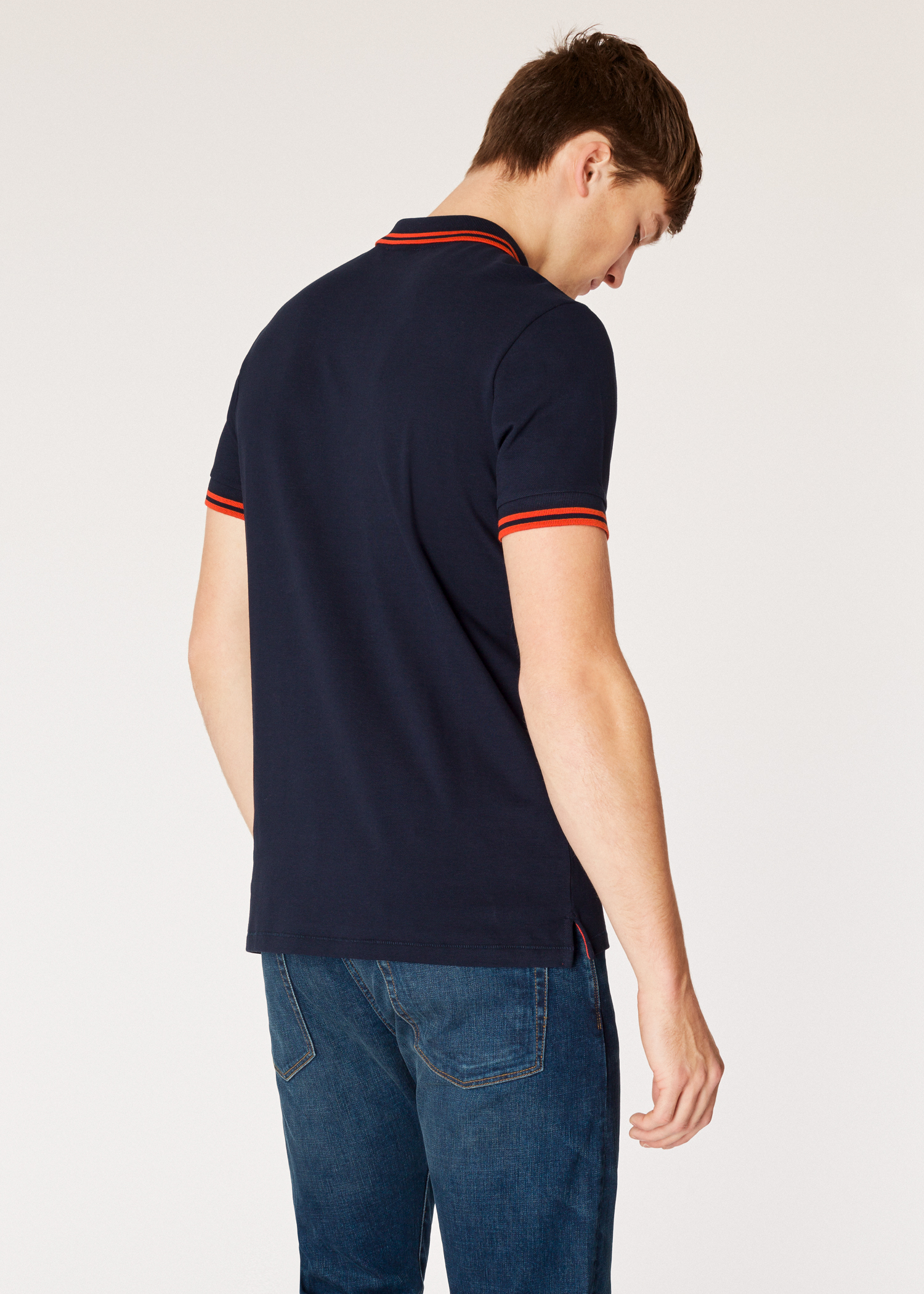 87be52d1462 Model back close up - Men's Slim-Fit Dark Navy Zebra Polo Shirt With Orange