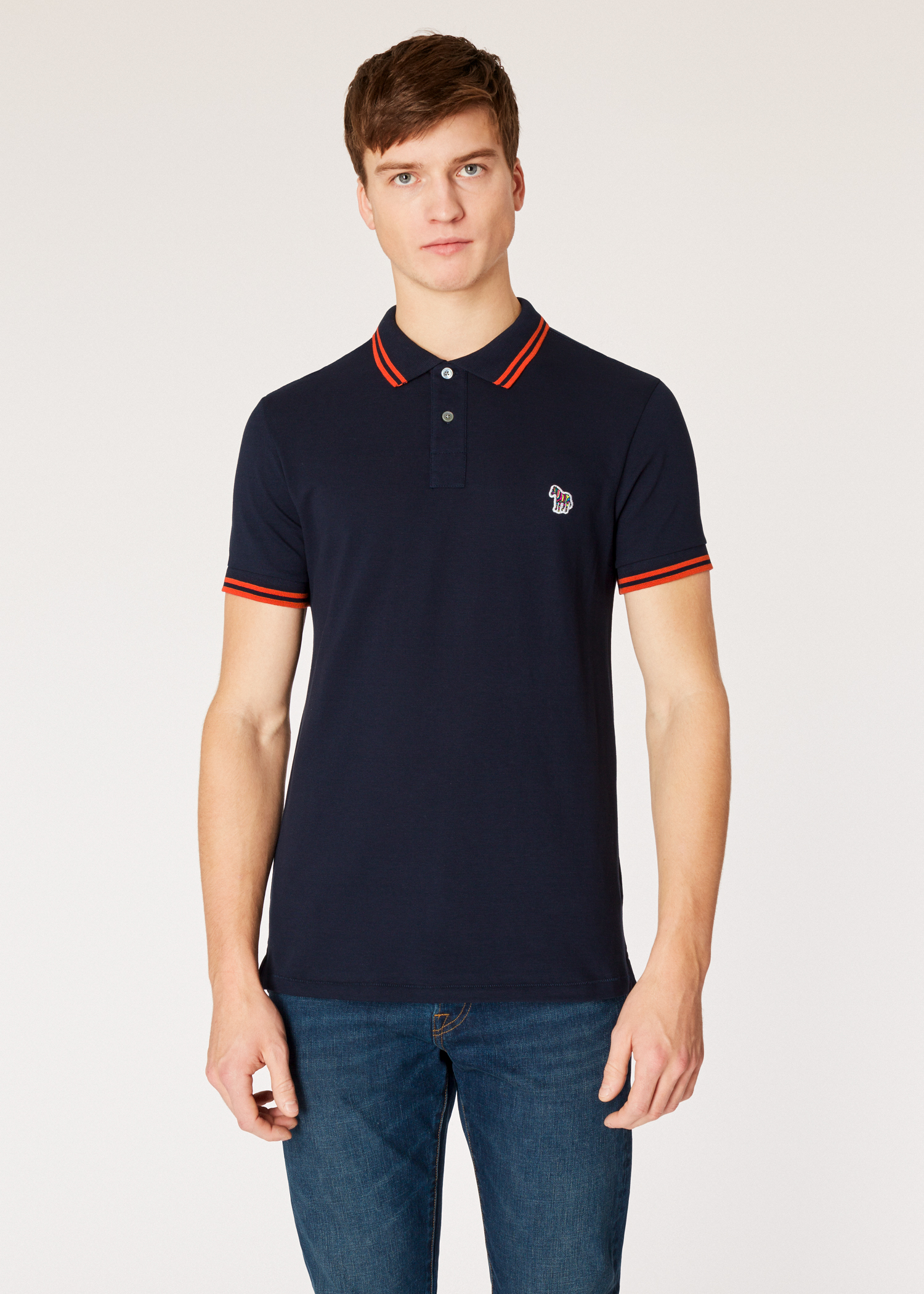 c3a85edac Model close up - Men s Slim-Fit Dark Navy Zebra Polo Shirt With Orange  Tipping