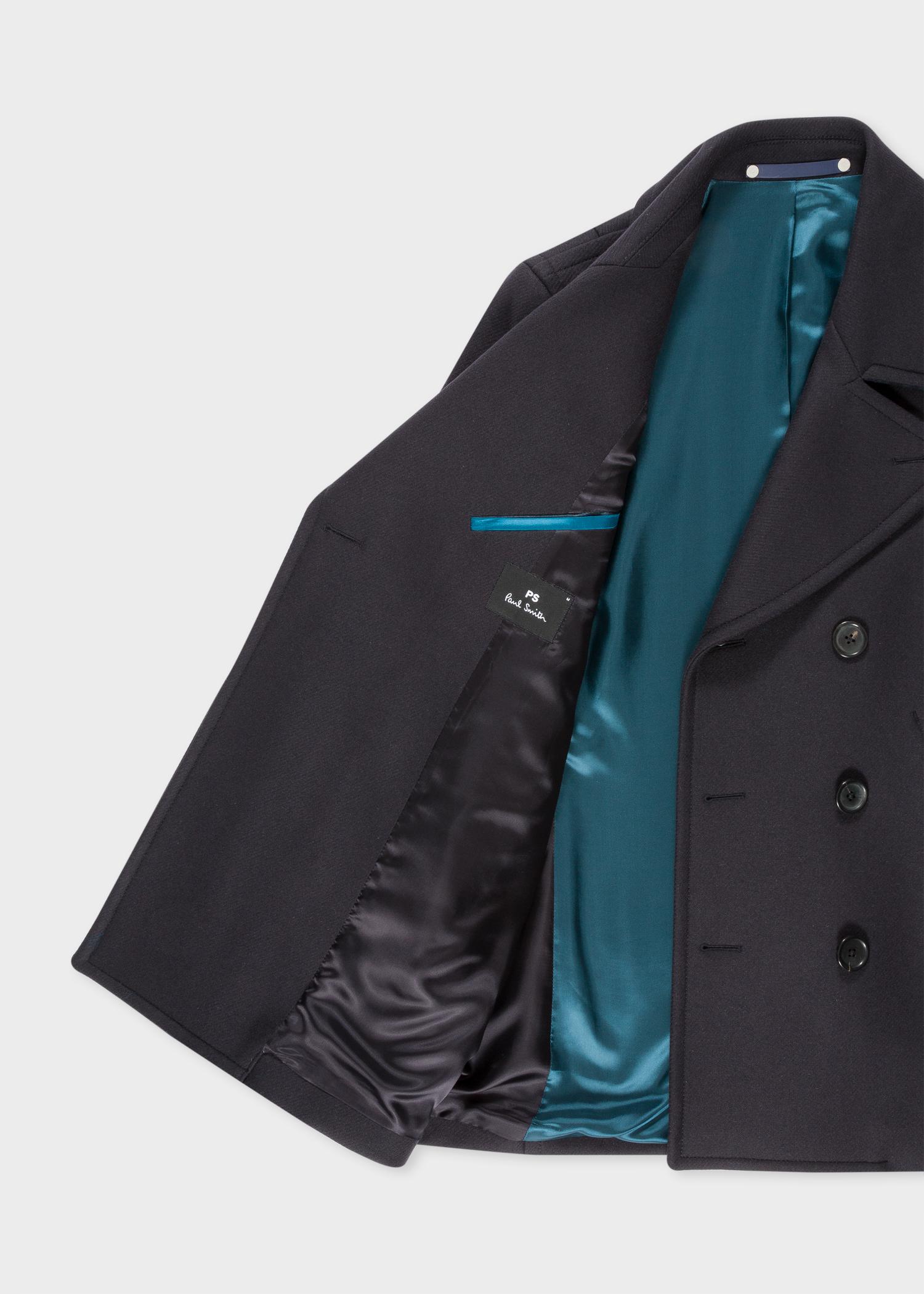 caban homme bleu marine fonc en laine et cachemire. Black Bedroom Furniture Sets. Home Design Ideas
