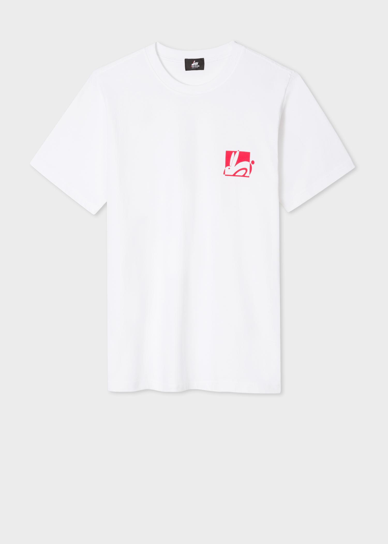a17bd1bf5de Front view - Men's White Small Rabbit Logo Print Red Ear T-Shirt Paul Smith