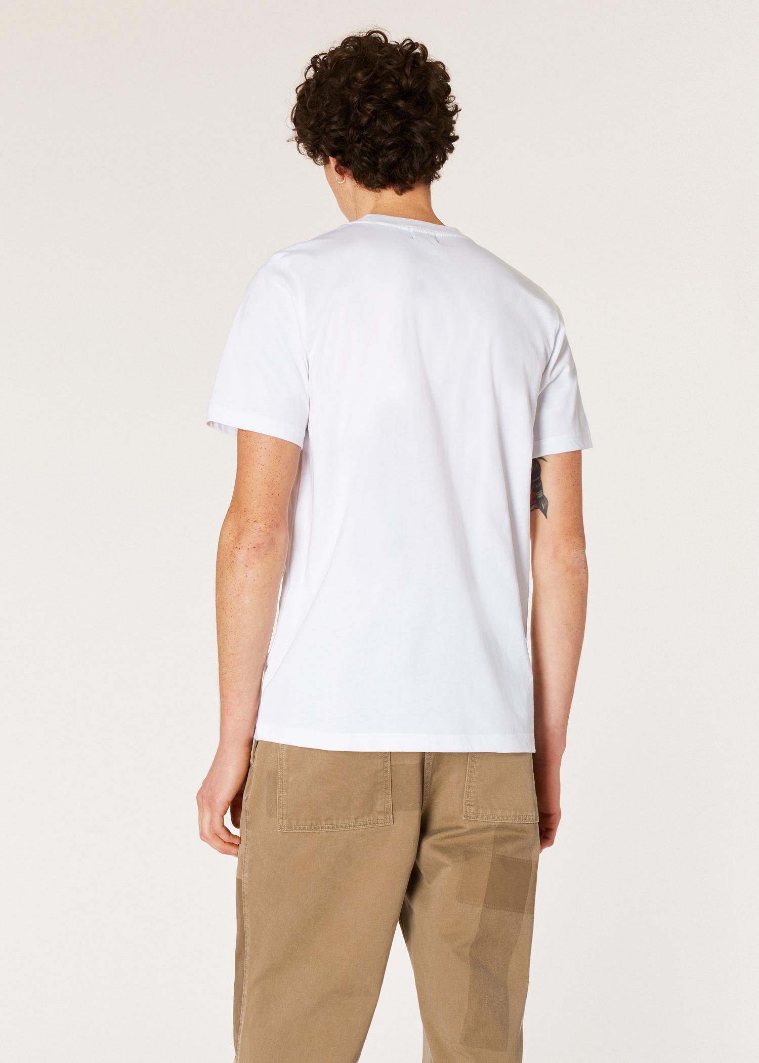 8f843ac8e12 Model back close up - Men's White Small Rabbit Logo Print Red Ear T-Shirt