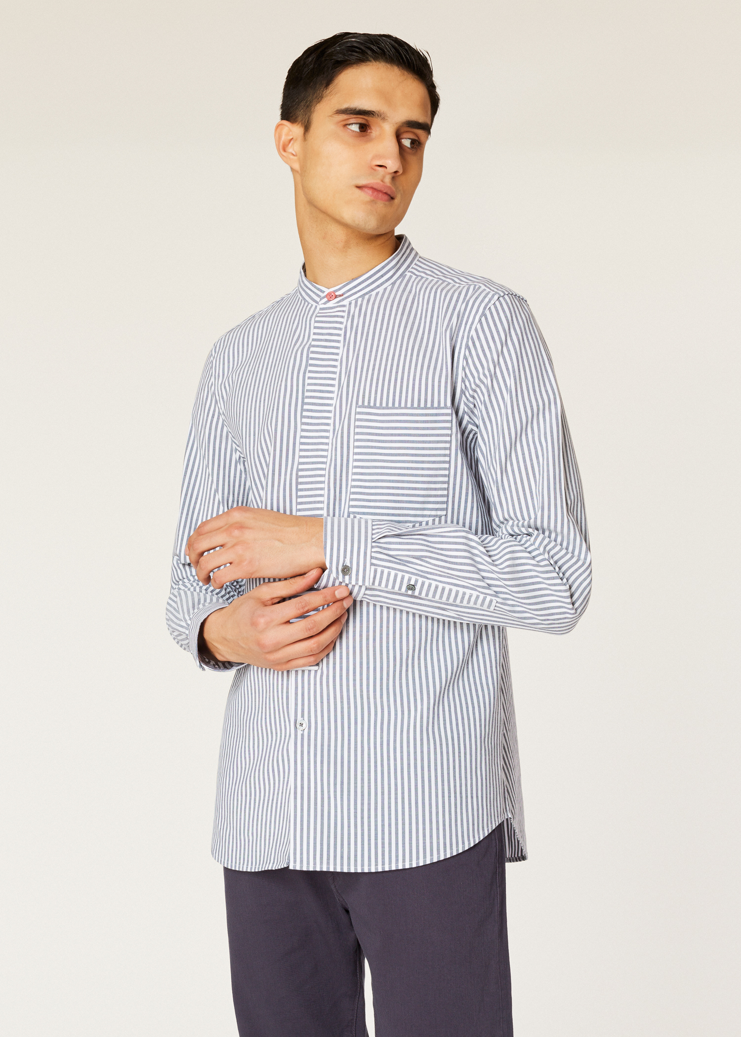321fb4366a Model front close up - Men's Tailored-Fit Grey Stripe Cotton Band-Collar  Shirt