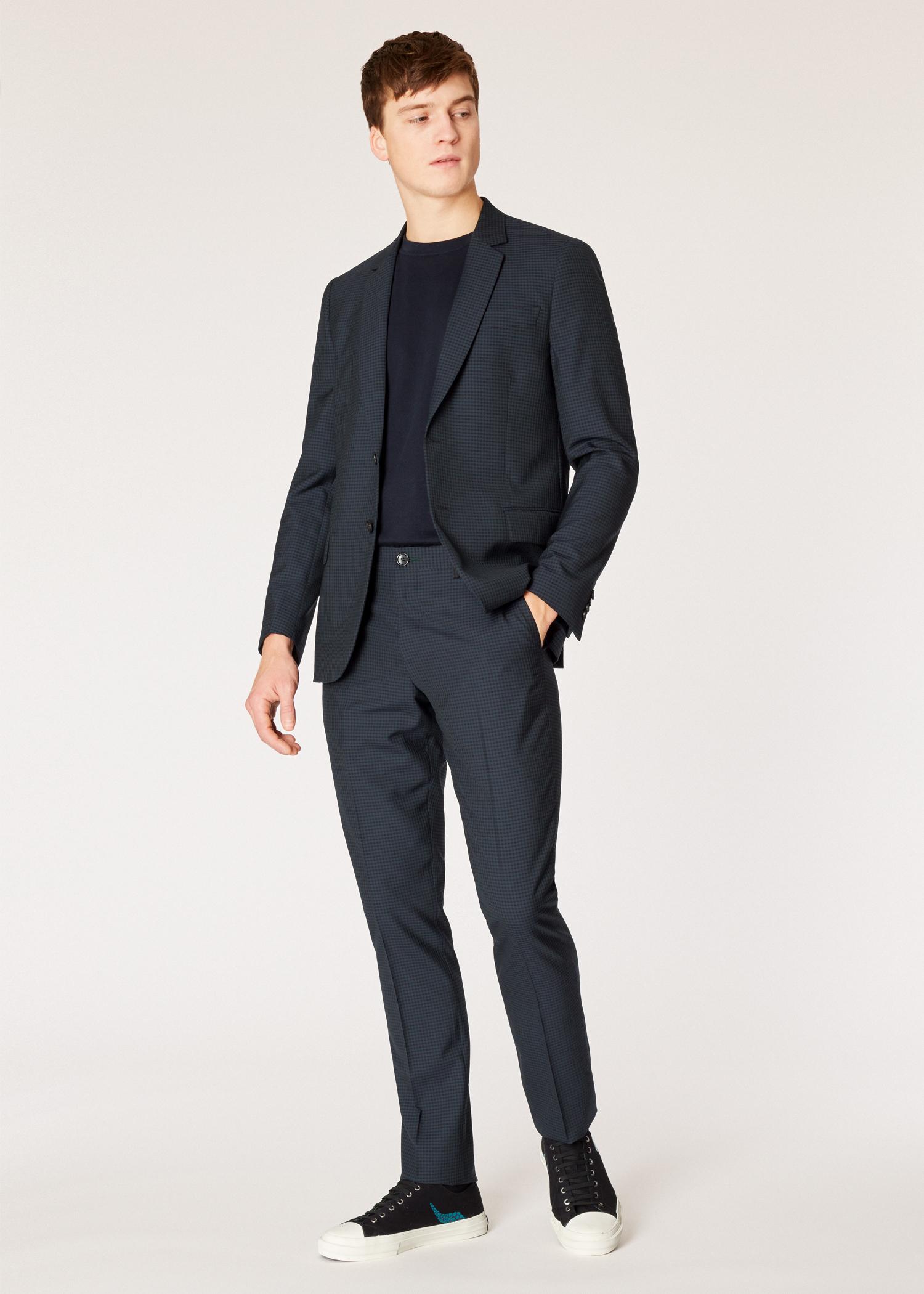 pantalon homme bleu marine fonc carreaux en laine coupe mid fit paul smith francais. Black Bedroom Furniture Sets. Home Design Ideas