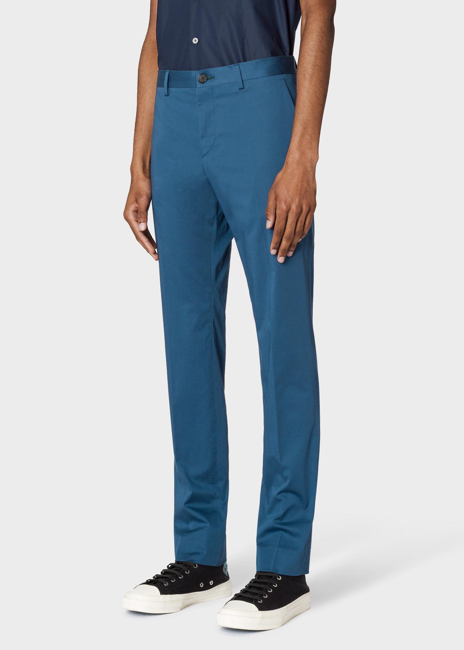 5c09c2b840d34 Vue mannequin face zoom - Pantalon Homme Bleu Cobalt En Coton Stretch Coupe  Slim Paul Smith