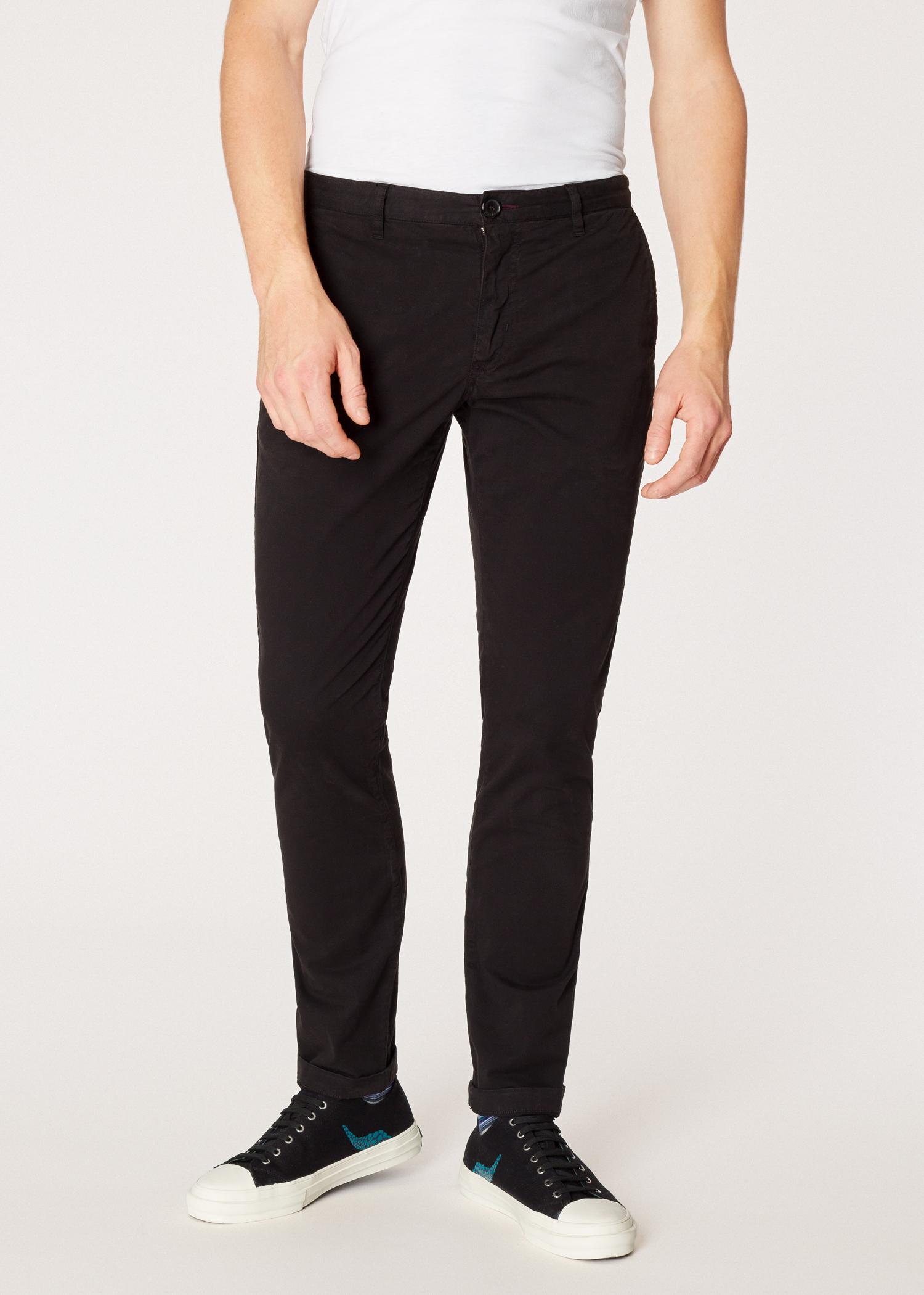 494492c0f16c19 Model front close up - Men's Slim-Fit Black Stretch Pima-Cotton Chinos Paul