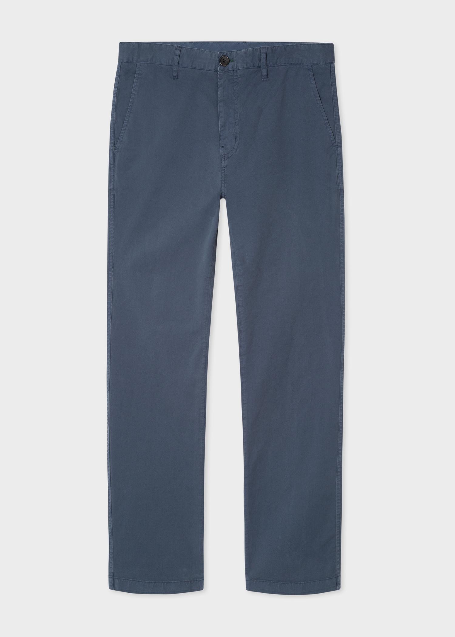 7a6c3d1428b Front View - Men's Slim-Fit Light Slate Blue Stretch Pima-Cotton Chinos Paul