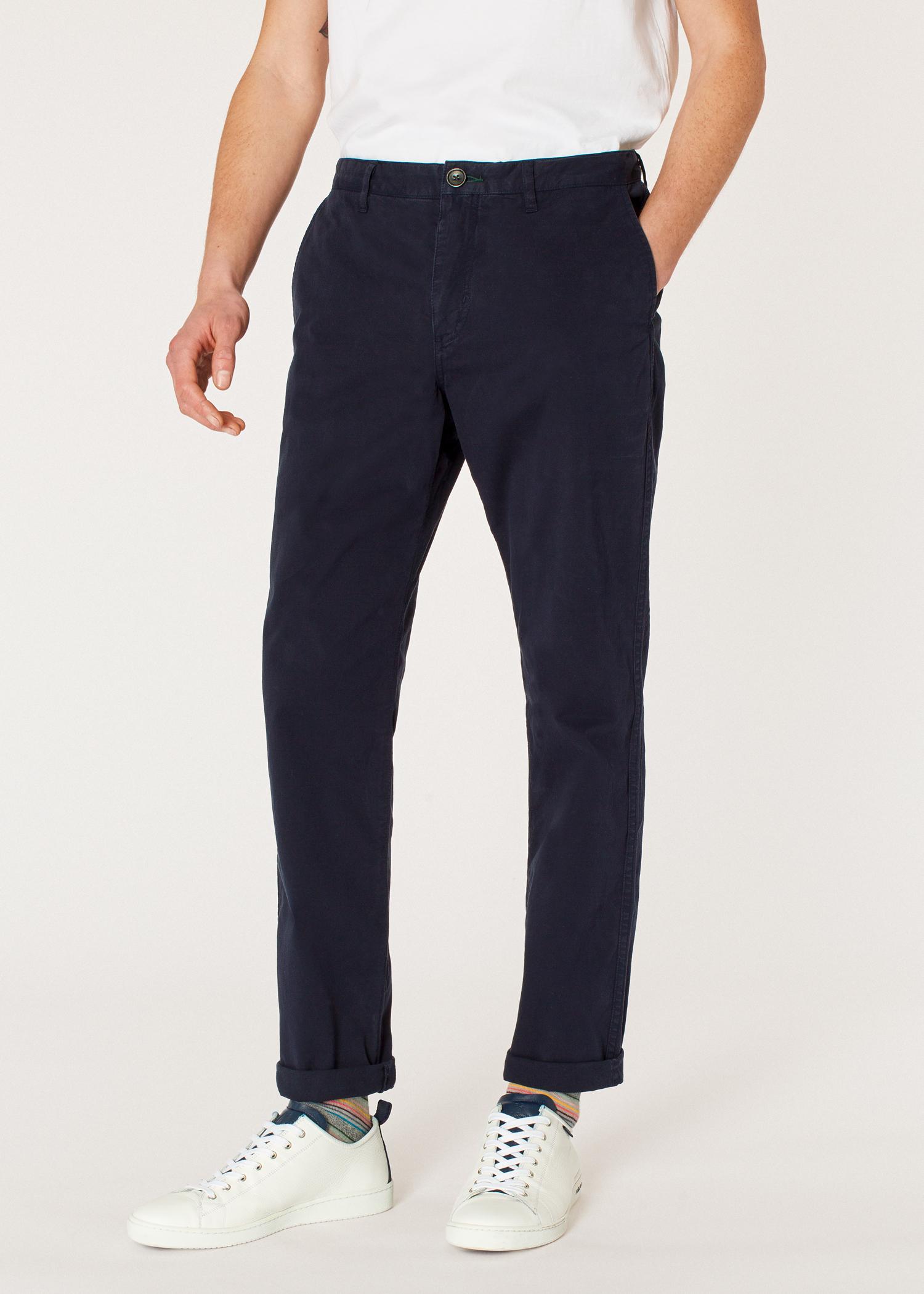 815bbb9d7a44e Pantalon Homme Bleu Marine Foncé En Coton Stretch Coupe Fuseau