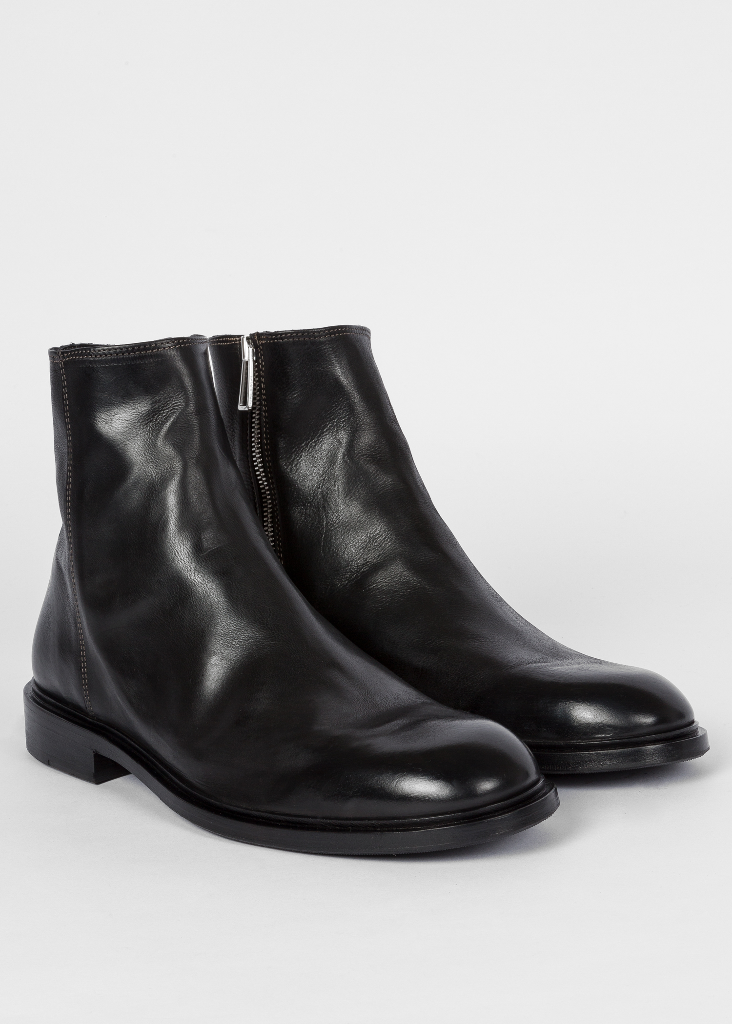 d33c659ebe87 Angled View - Men s Black Leather  Billy  Zip Boots Paul Smith