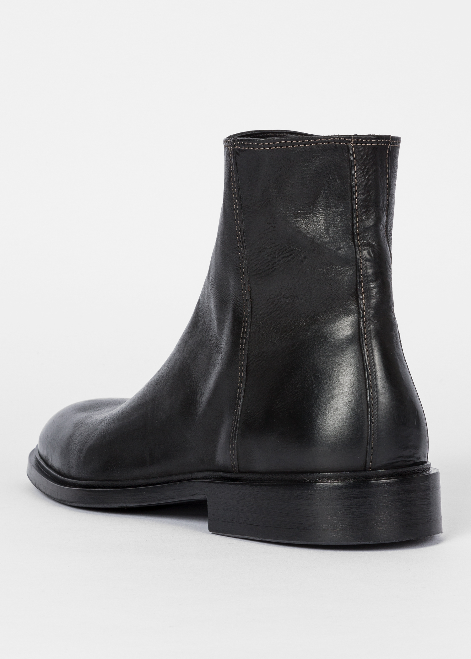 42839335e3bf Back View - Men s Black Leather  Billy  Zip Boots Paul Smith