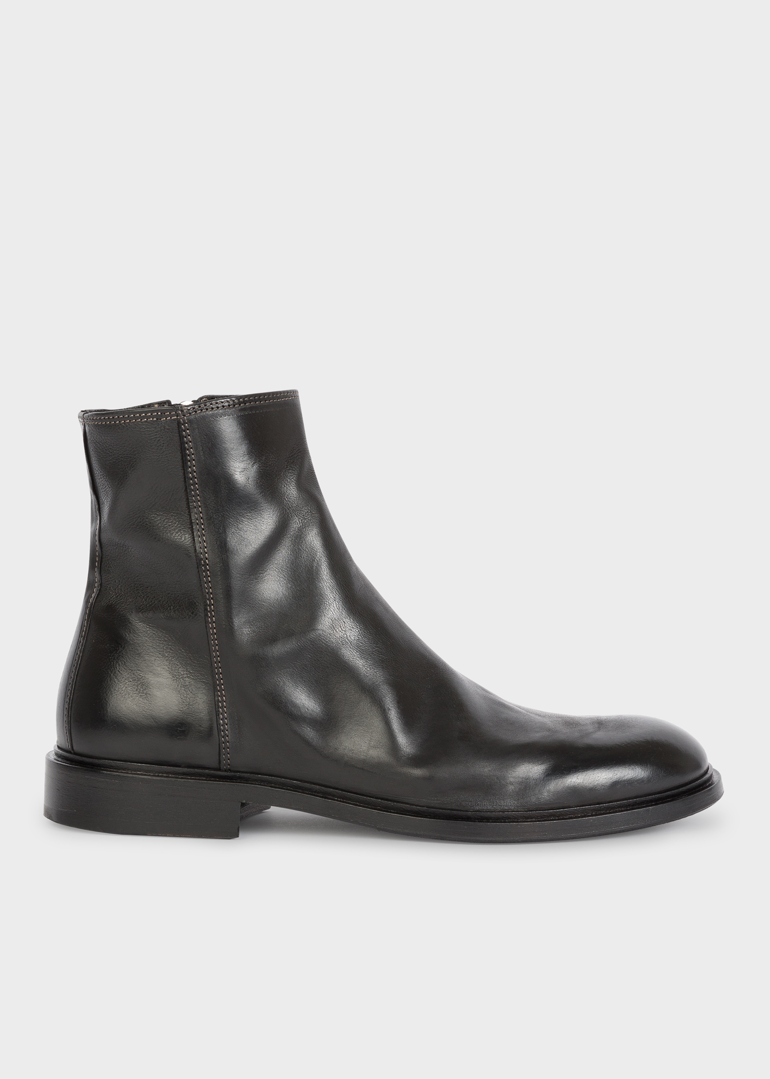 c0455e29ff06 Side View - Men s Black Leather  Billy  Zip Boots Paul Smith