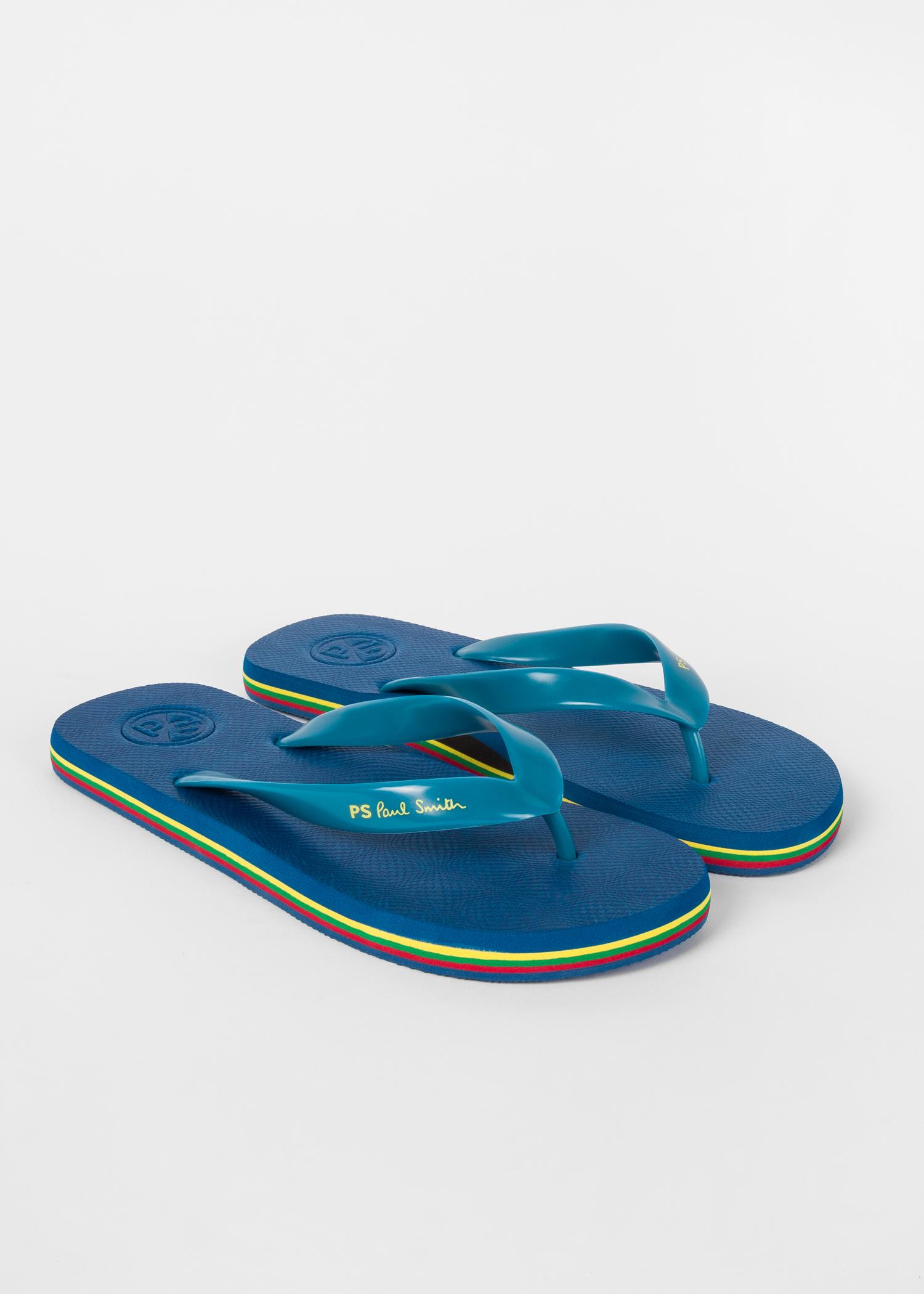 1ca630e62a41 Men s Blue  Dale  Flip Flops With Multi-Coloured Edge - Paul Smith US