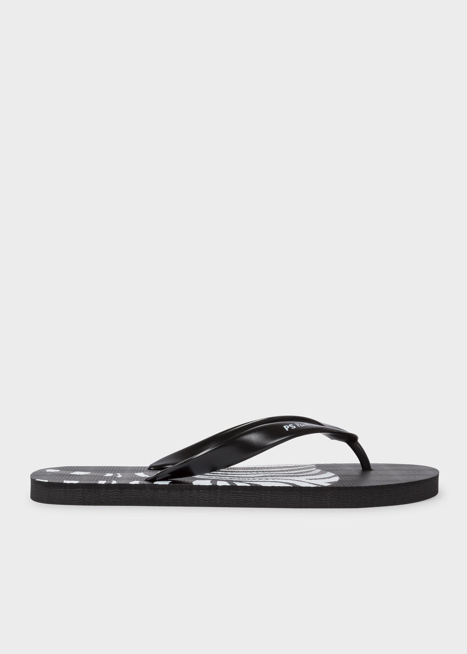 9518c4ad9b5932 Men s Black  Zebra  Print  Disc  Flip Flops - Paul Smith Asia