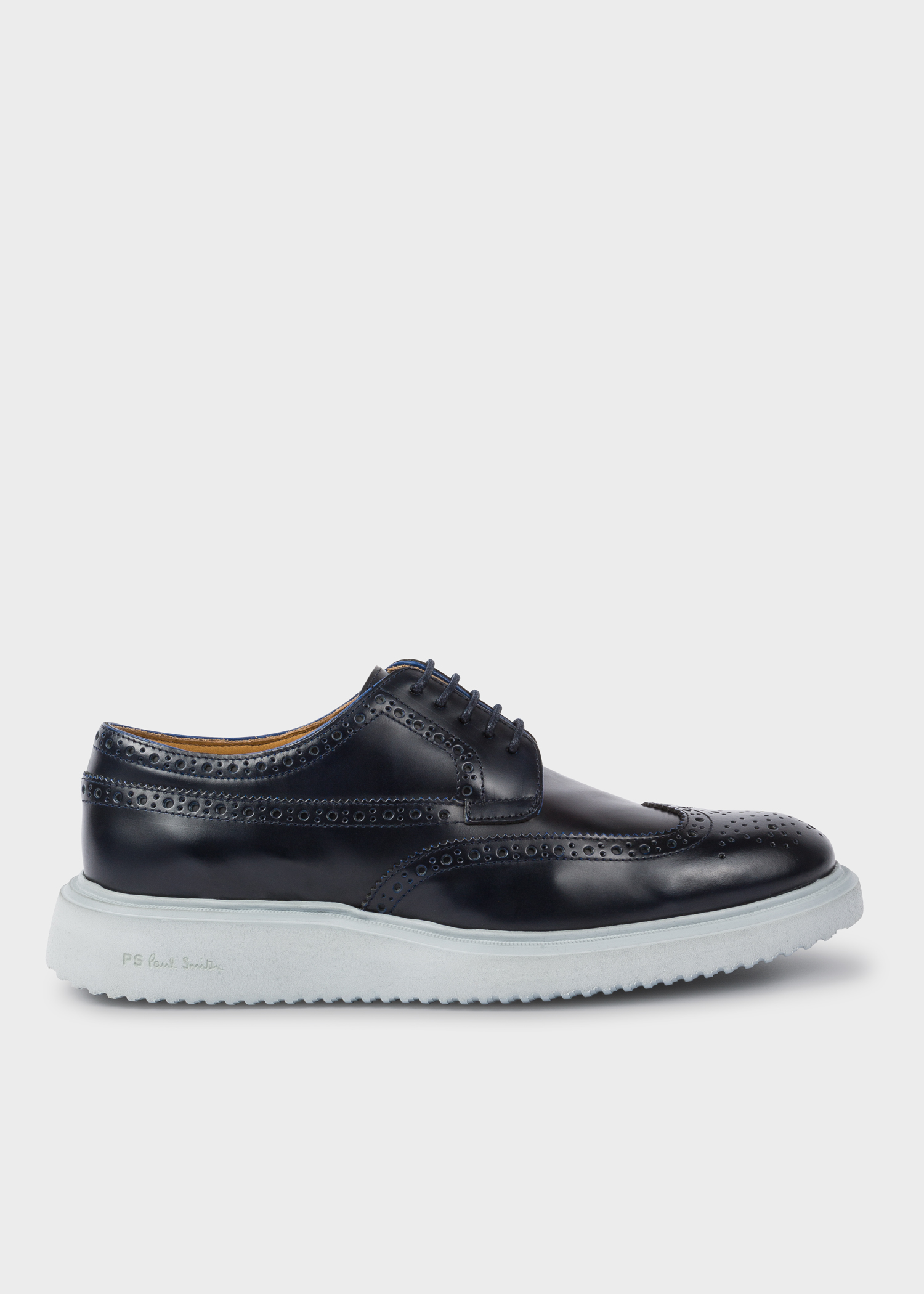 13233d2ab73 Side view - Men's Dark Navy 'Dixon' Leather Brogues Paul Smith
