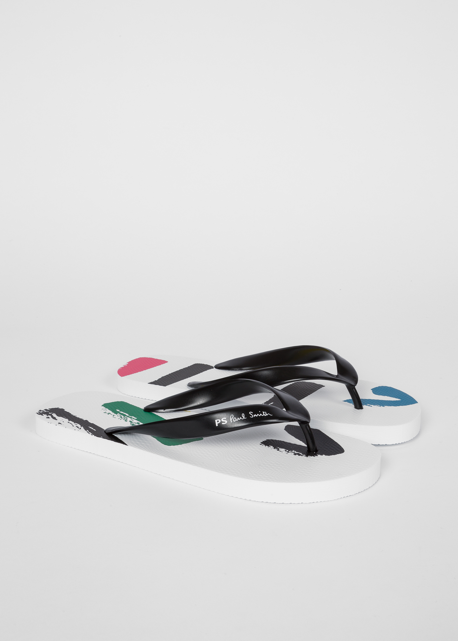 be5d3bd73799 Angled side view - Men s White  Painted Sports Stripe   Disc  Flip Flops