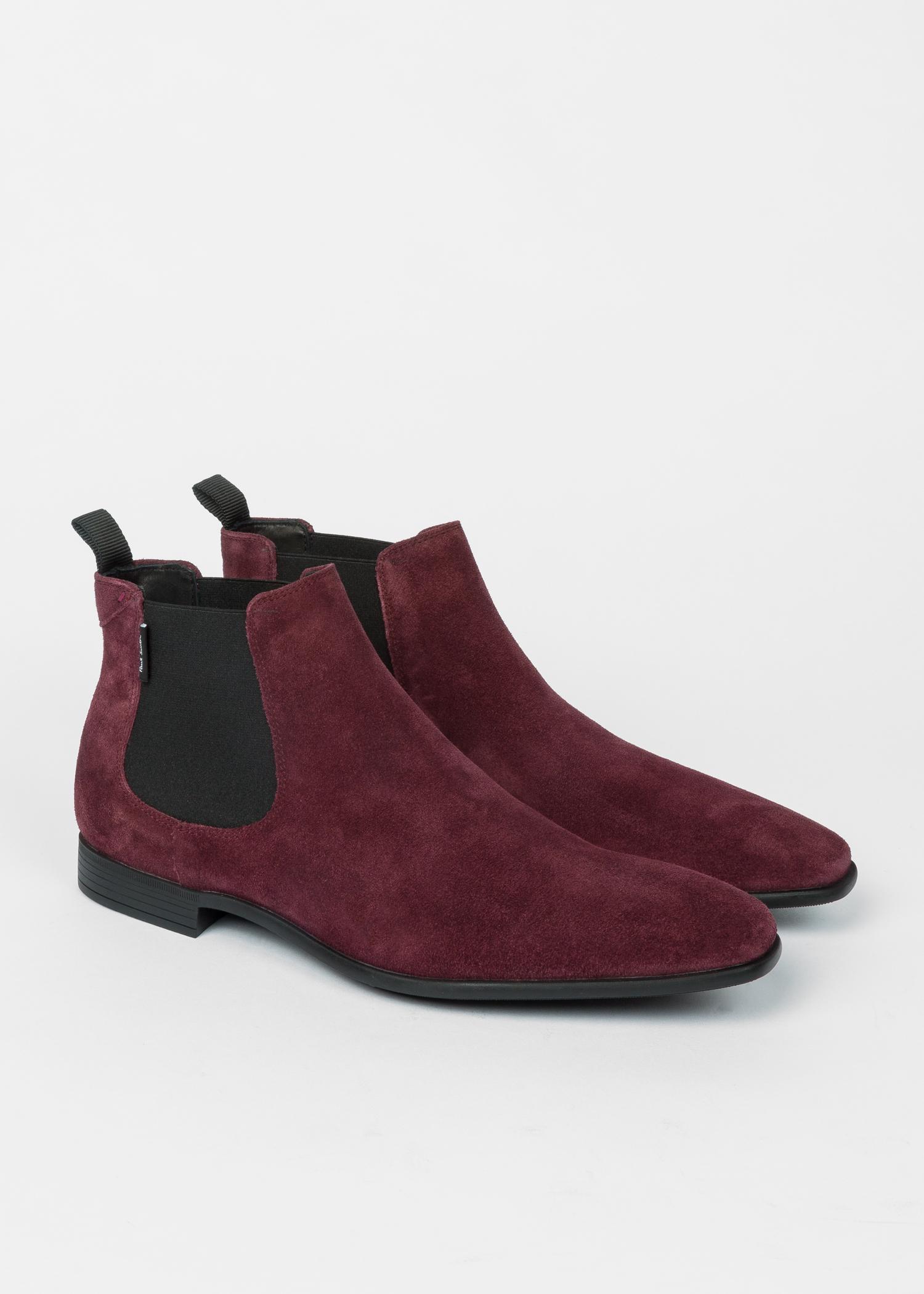 8a3136dbc924 Men s Bordeaux Suede  Falconer  Chelsea Boots - Paul Smith Australia