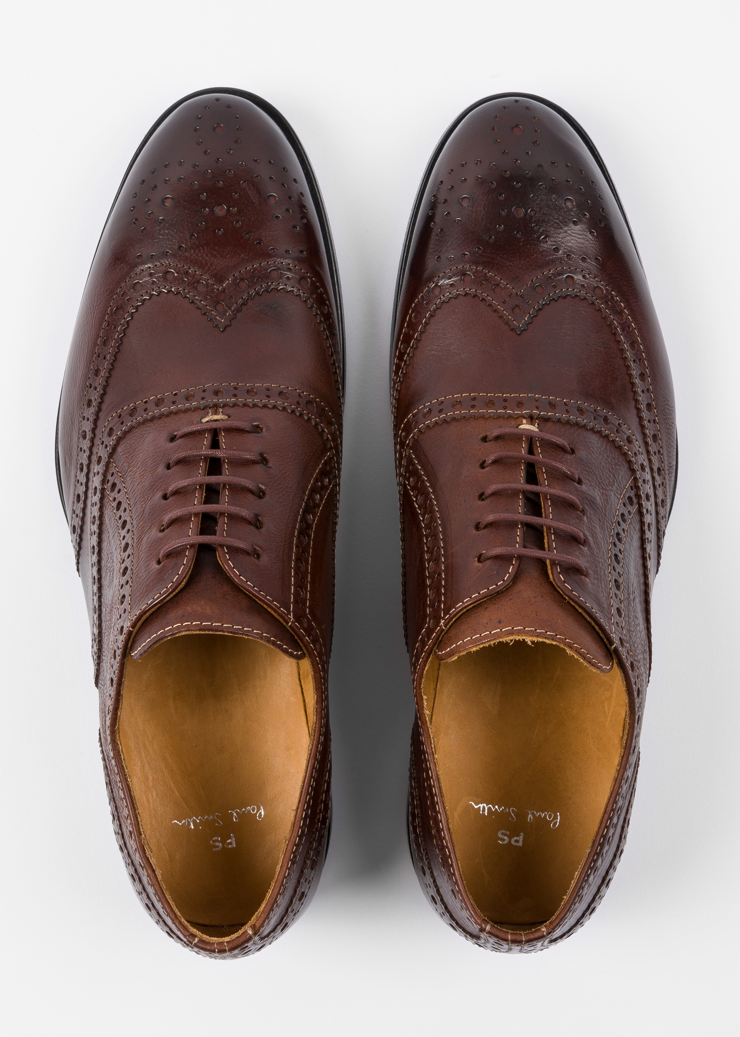 9e628e04d1b53 Top Down View - Men's Chocolate Brown Calf Leather 'Marti' Brogues Paul  Smith