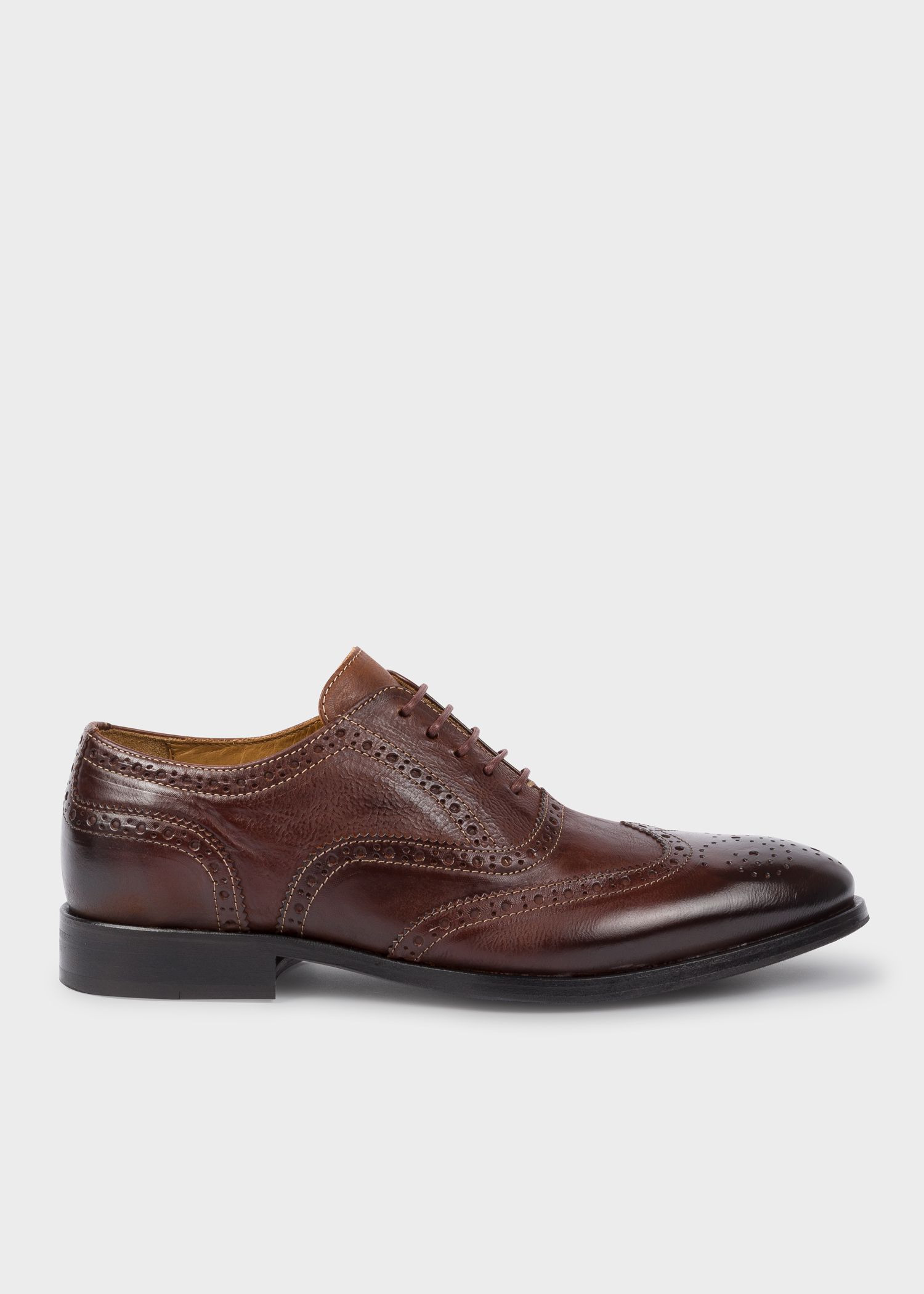 659f3b6d70d12 Side View - Men's Chocolate Brown Calf Leather 'Marti' Brogues Paul Smith