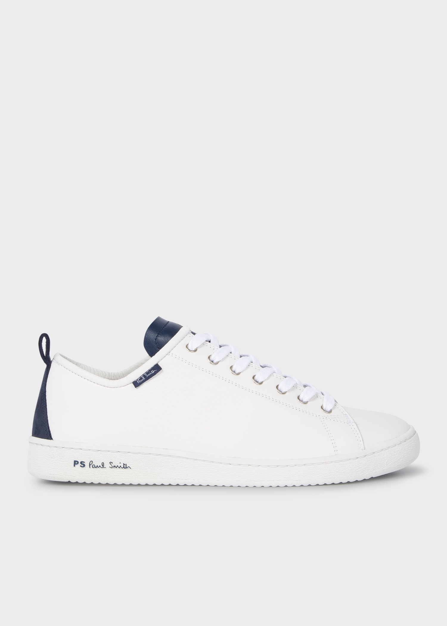 43f790cef8 Men's White Calf Leather 'Miyata' Trainers With Navy Tongue