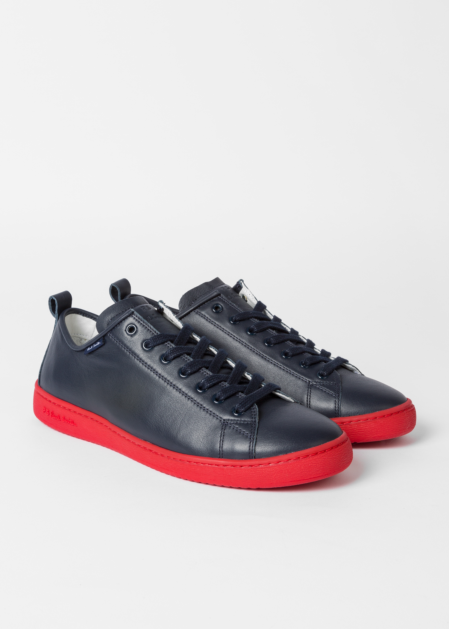los angeles 1ec93 627ac Men's Navy Leather 'Miyata' Trainers With Red Soles
