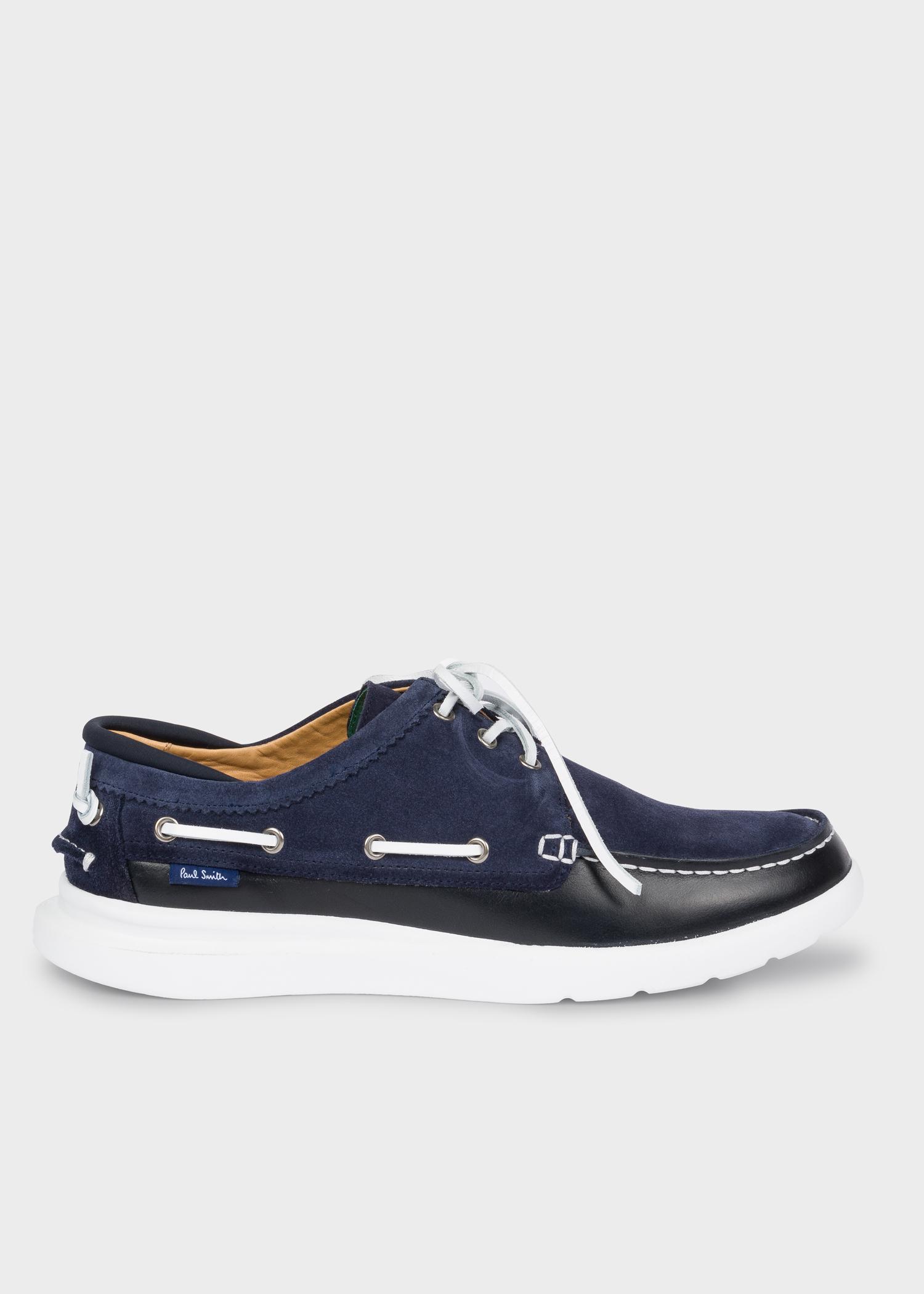 2c22d587803e54 Vue de côté - Chaussures Bateau Homme 'Tide' Bleu Marine En Cuir Suédé Paul