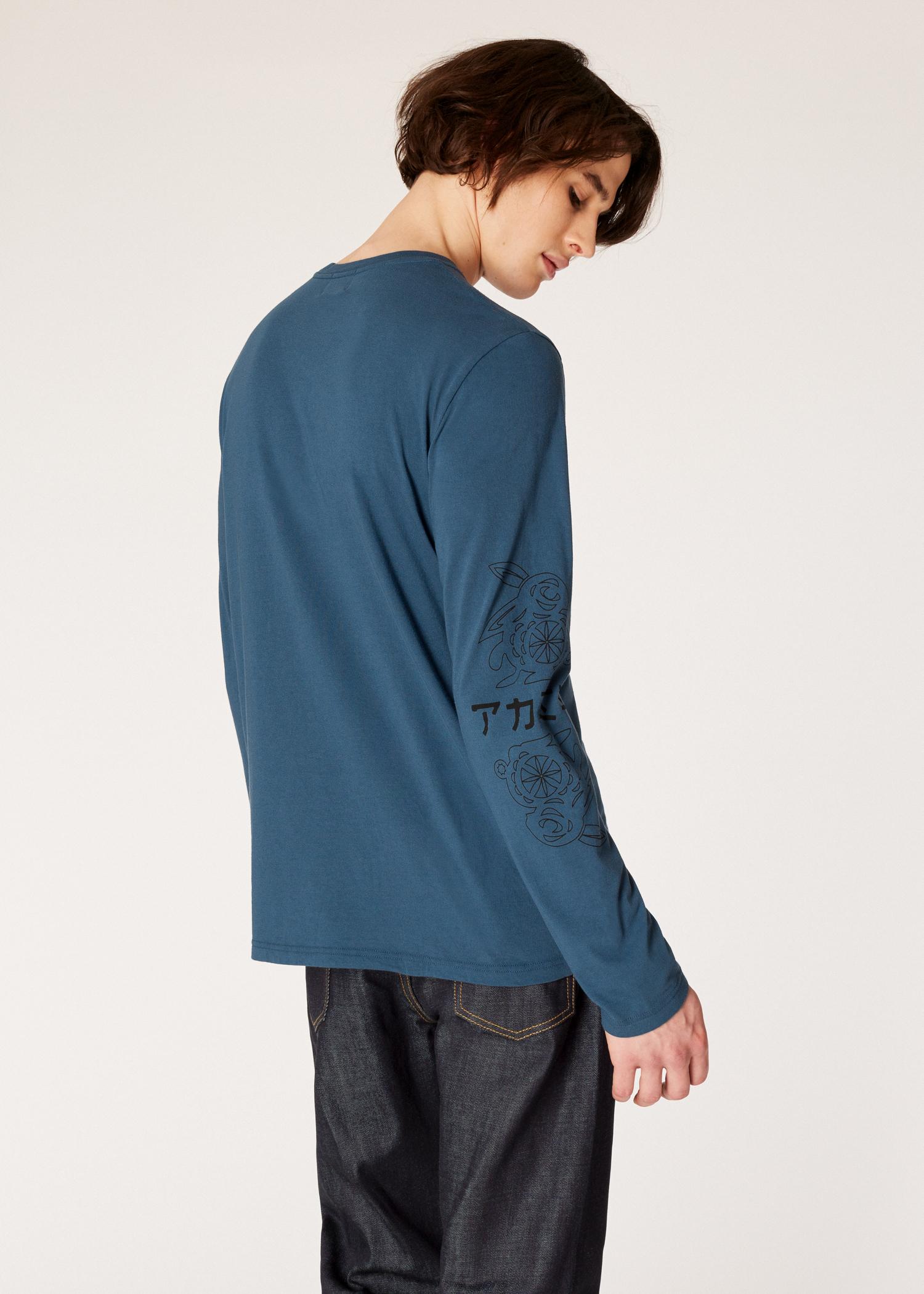 5b7d85db8ddd Men's Slate Blue Long-Sleeve Red Ear T-Shirt With 'Mirrored Rabbit ...