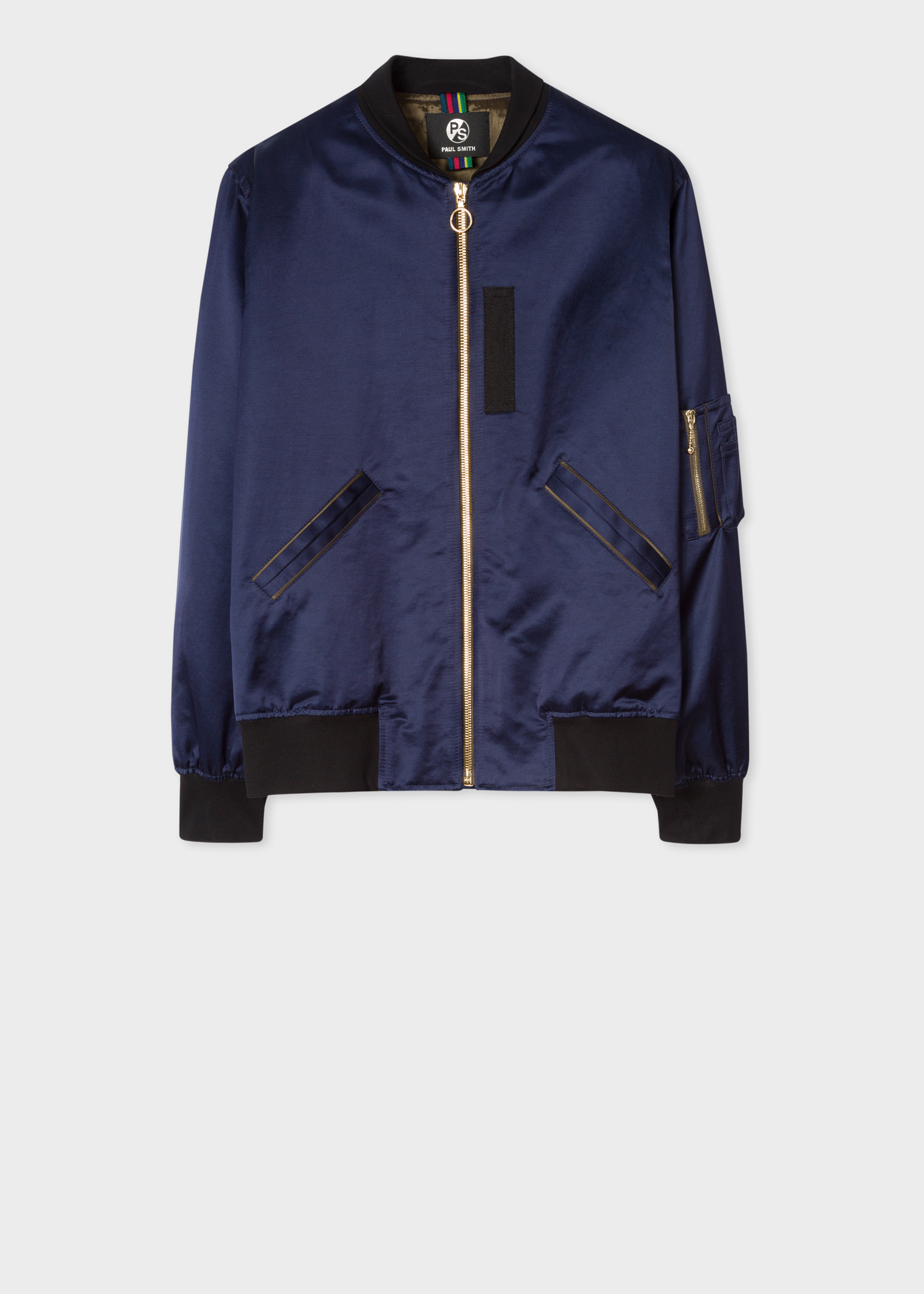 e06b11384 Women's Dark Navy Silky Cotton-Blend Bomber Jacket