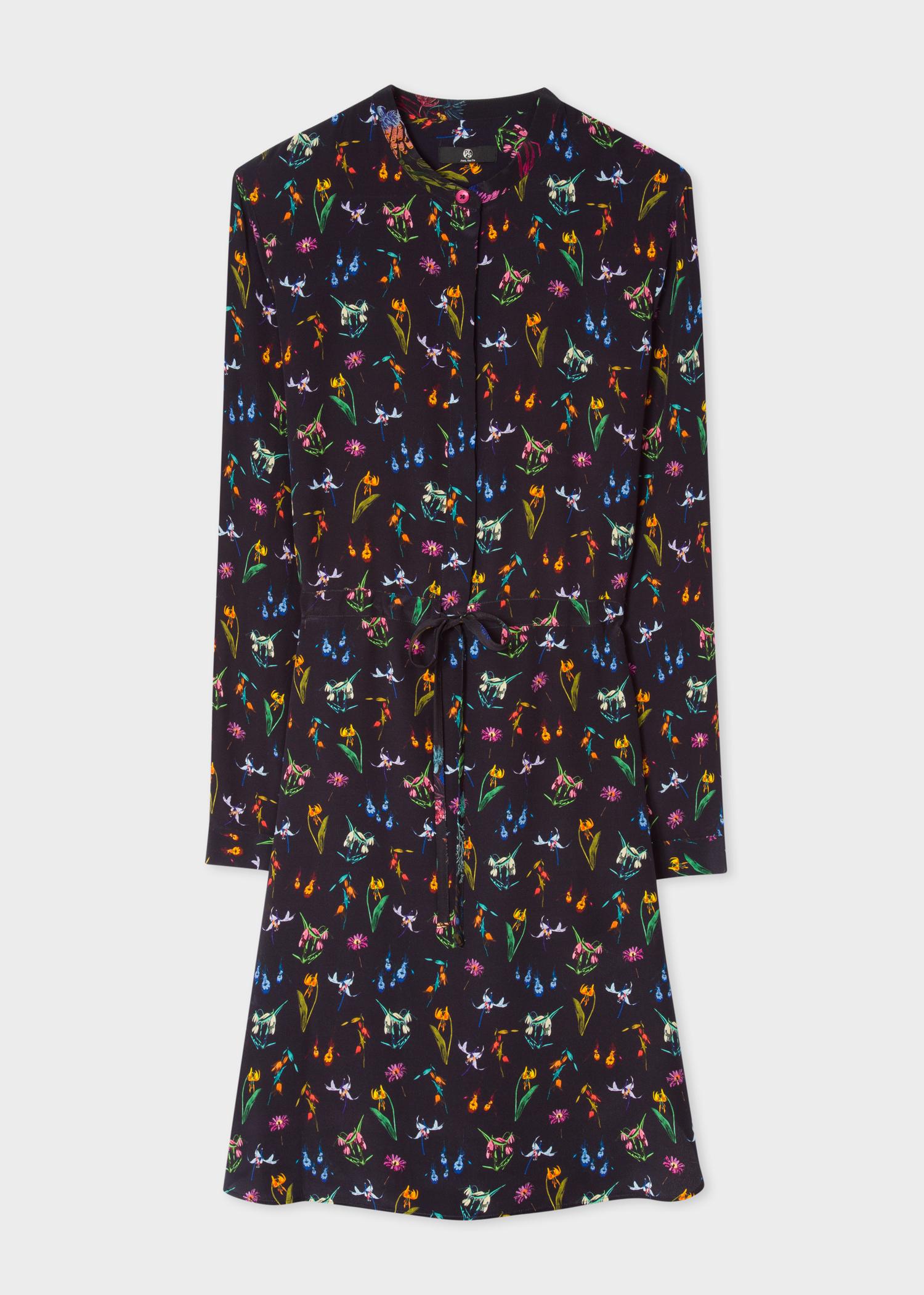 07358e949827ca Women's Black 'Floral' Print Silk Shirt Dress - Paul Smith Denmark