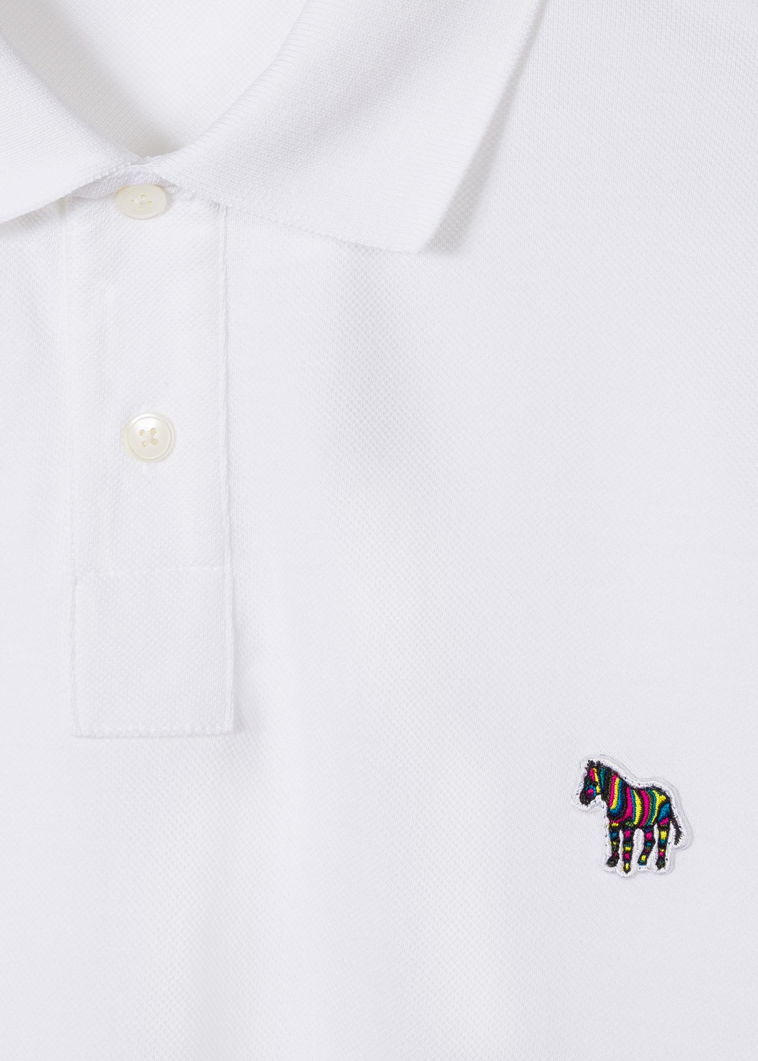Mens White Organic Cotton Zebra Logo Long Sleeve Polo Shirt Paul