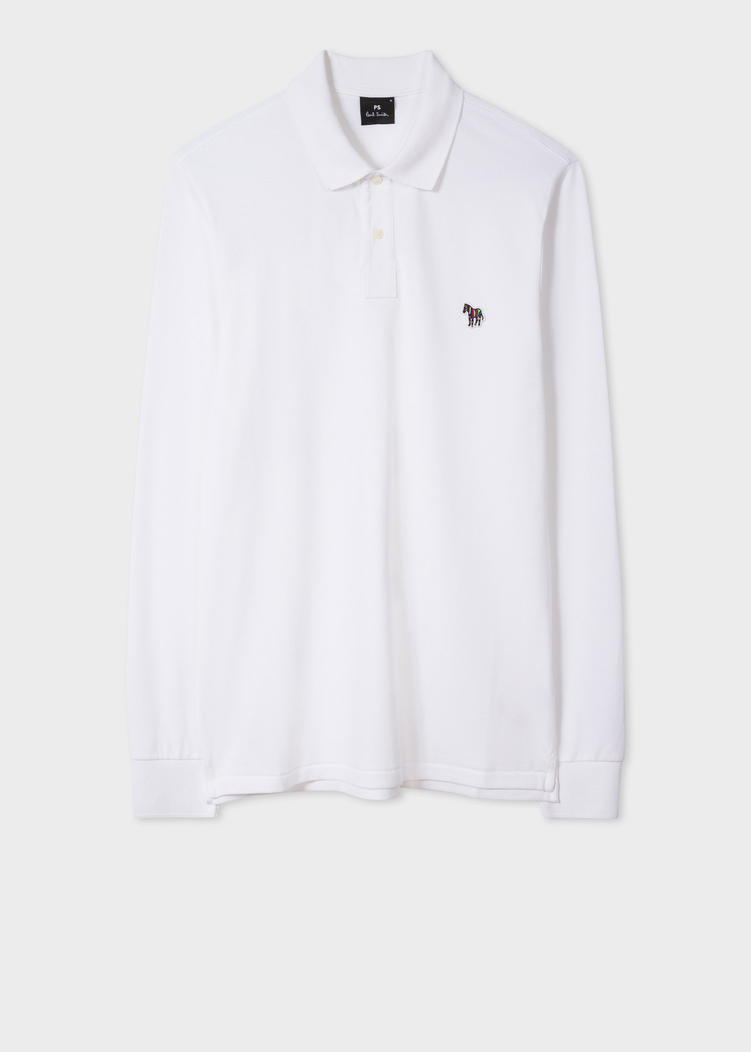 6e8199502 Men s White Organic-Cotton Zebra Logo Long-Sleeve Polo Shirt by Paul Smith
