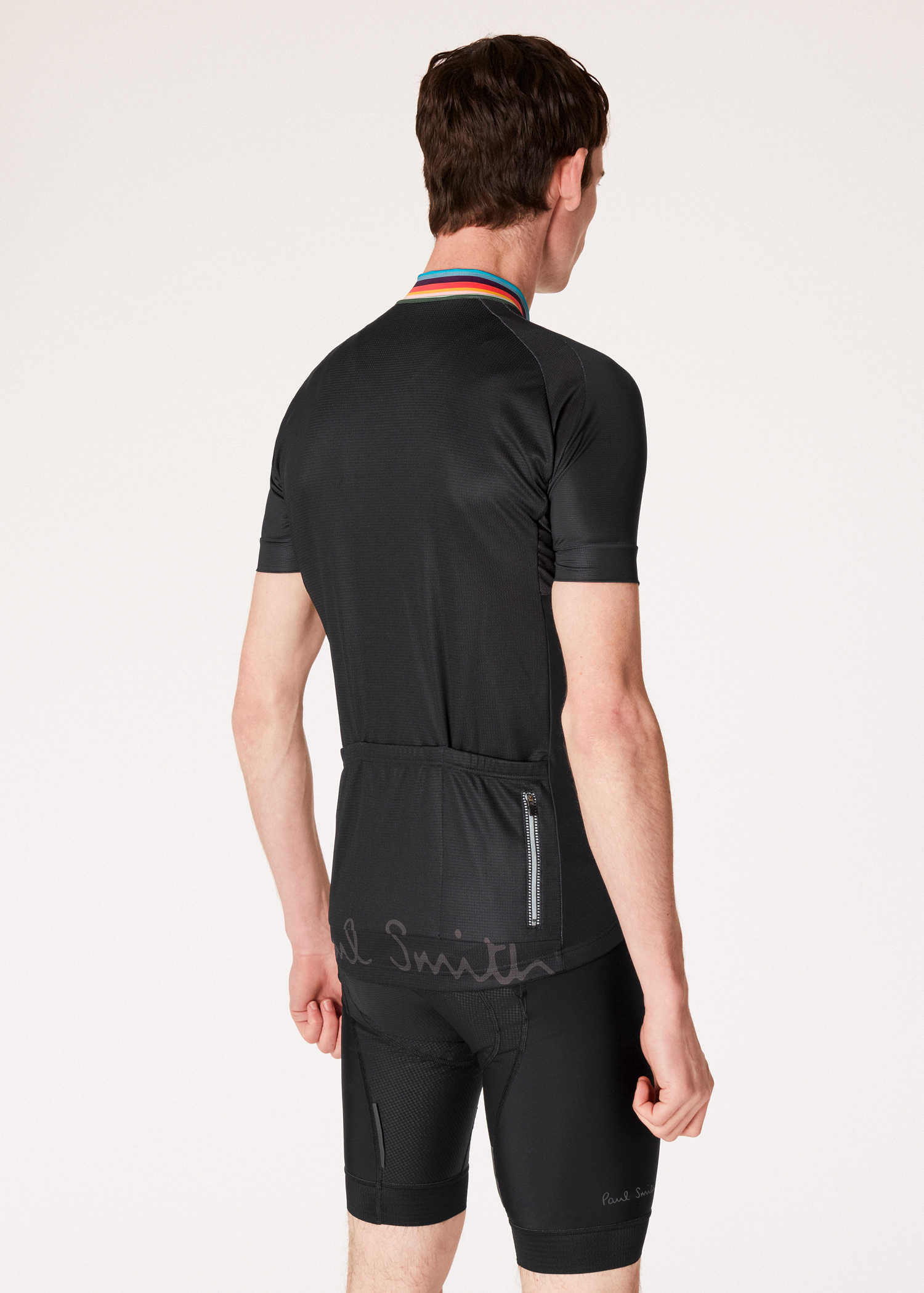 04c311854 Model back view-Paul Smith Black Cycling Jersey With  Artist Stripe  Collar