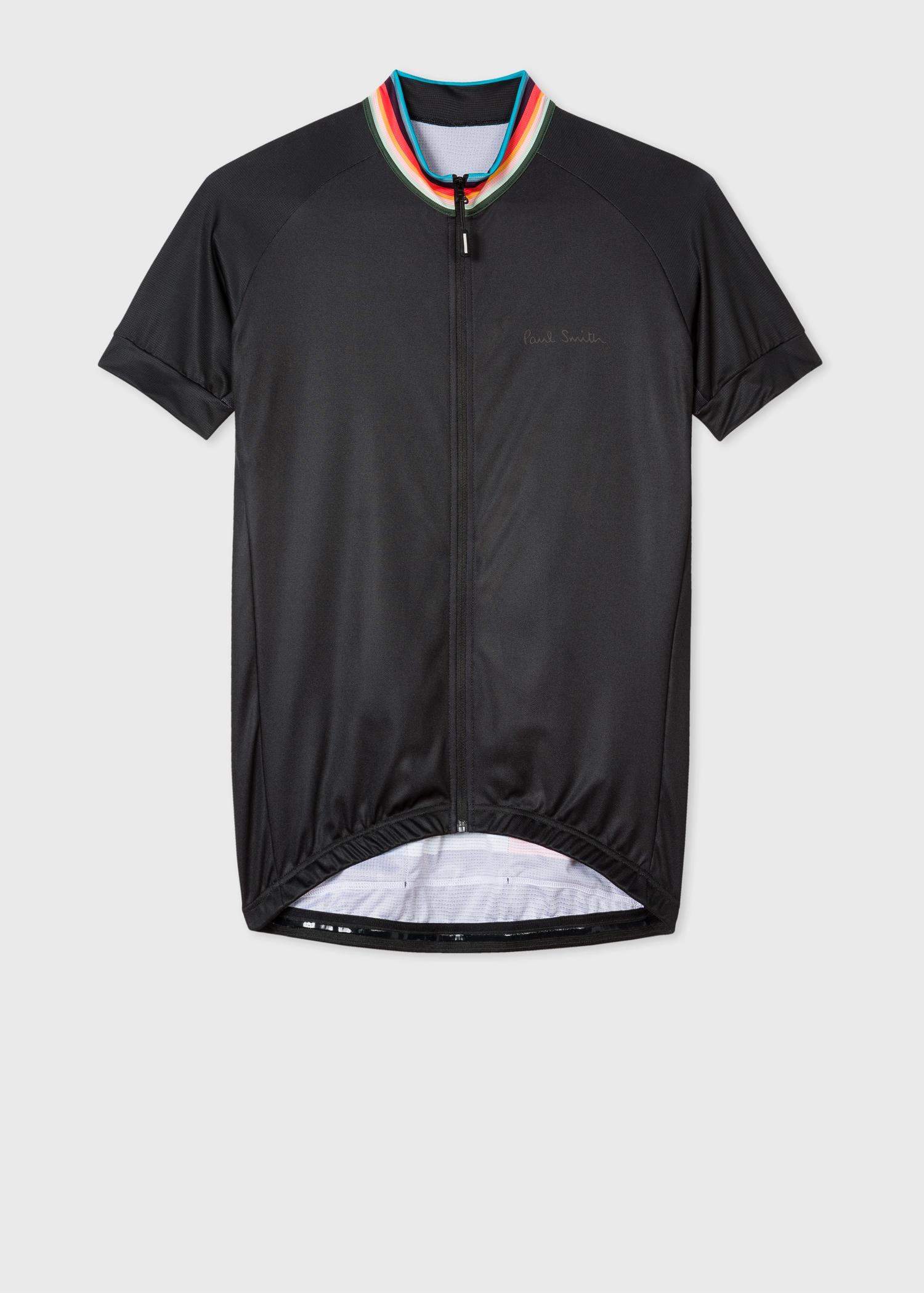 adb297d15 Black Cycling Jersey With  Artist Stripe  Collar - Paul Smith
