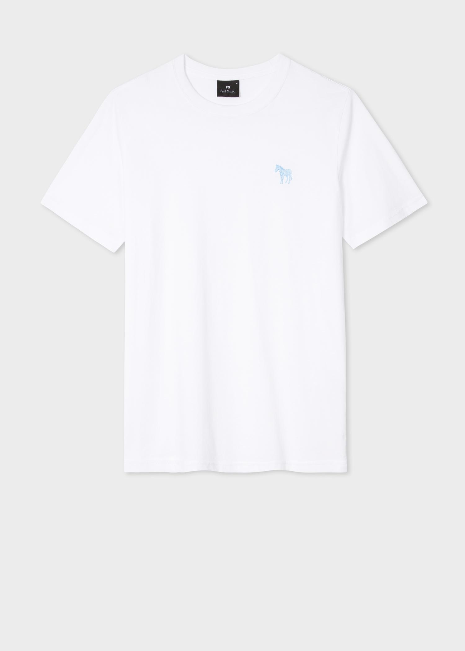 97d2de0a8ff Men's White Embroidered Zebra Organic-Cotton T-Shirt