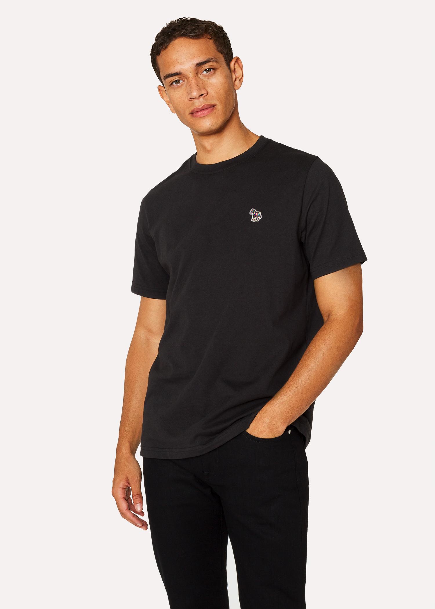 5304d1527980 Men's Black Organic-Cotton Zebra Logo T-Shirt by Paul Smith
