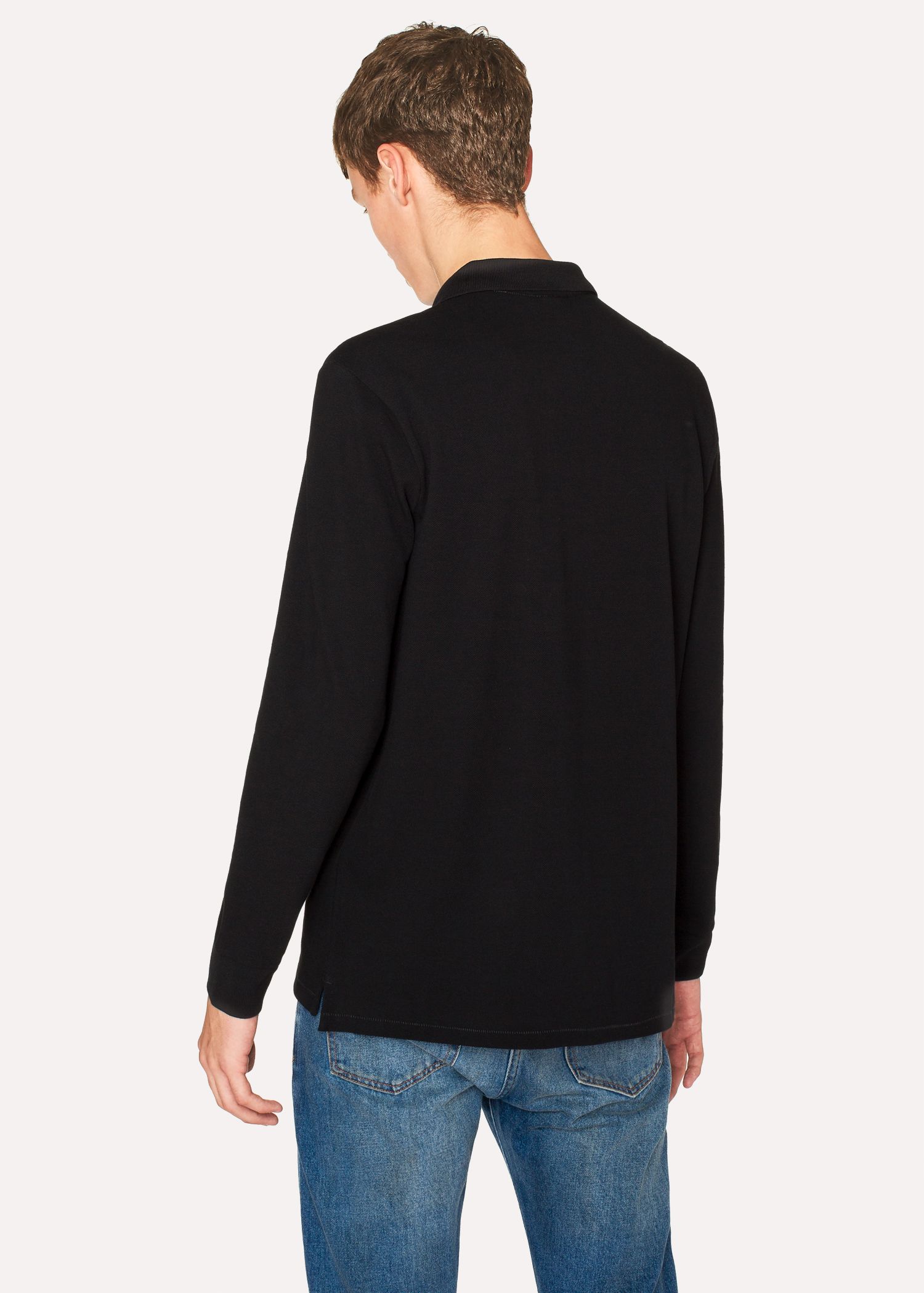 db7cd8f7a Men s Black Organic-Cotton Zebra Logo Long-Sleeve Polo Shirt - Paul ...
