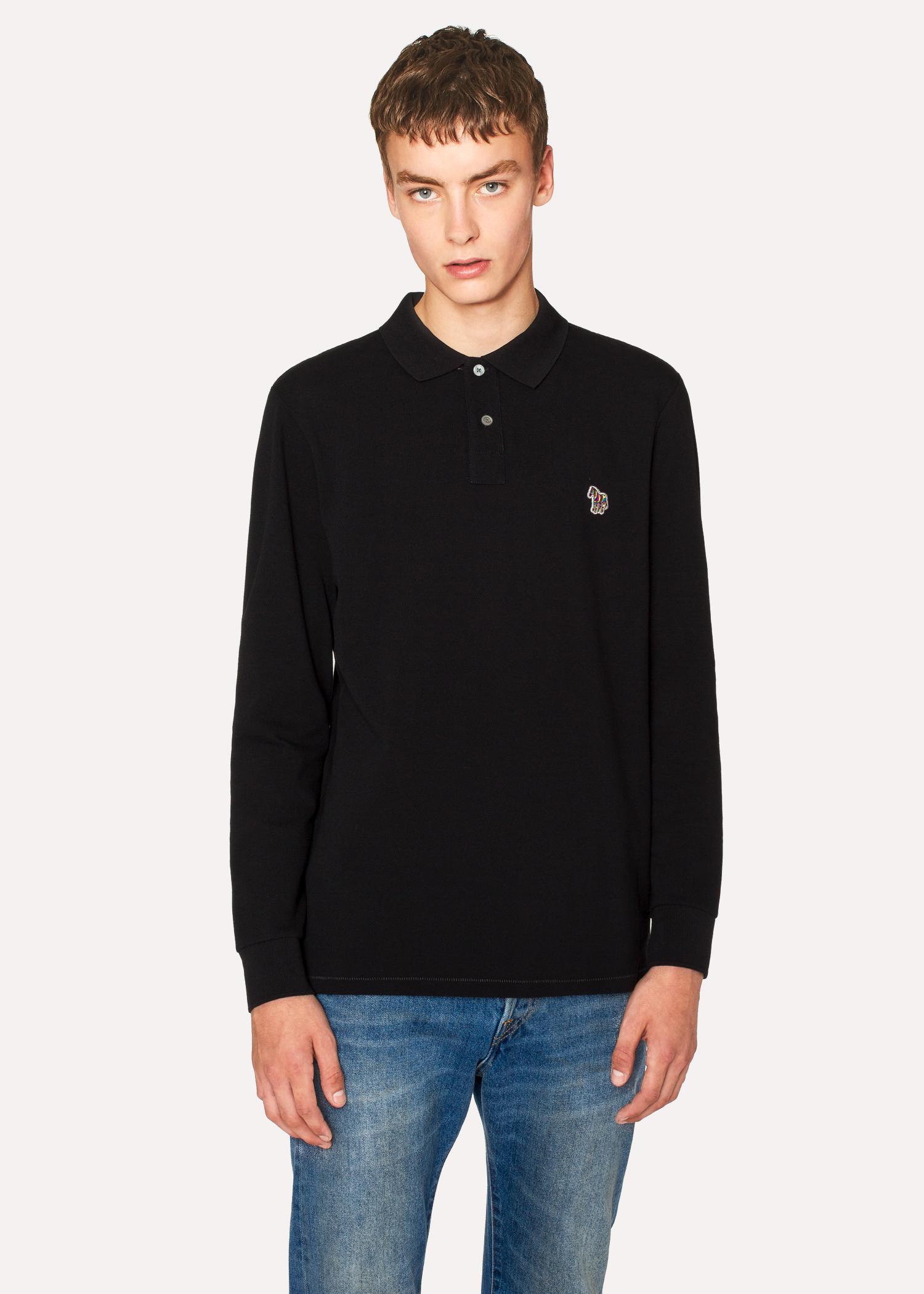 d3a820035 Men's Black Organic-Cotton Zebra Logo Long-Sleeve Polo Shirt by Paul Smith
