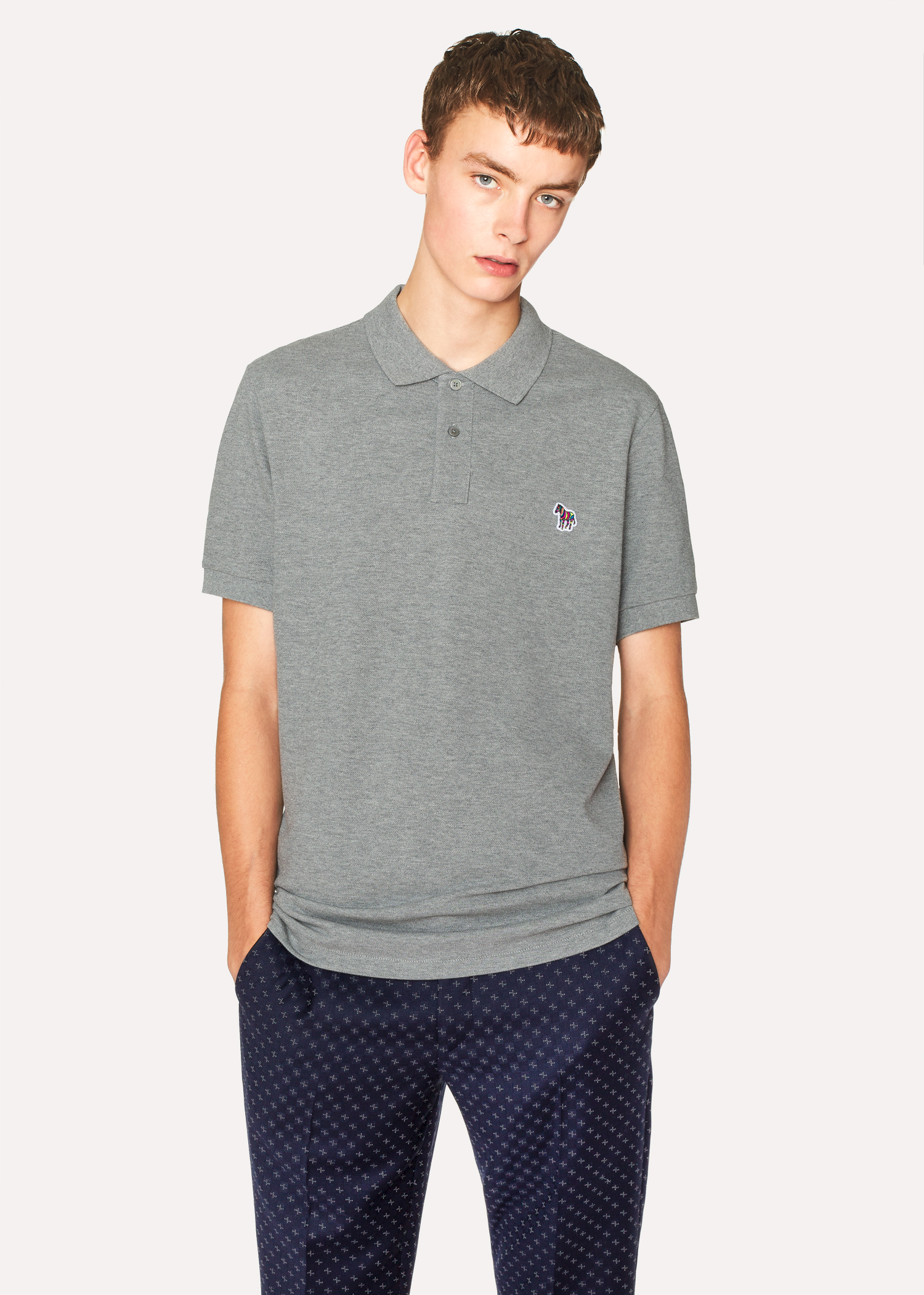 295d6432 Men's Grey Marl Cotton-Piqué Zebra Logo Polo Shirt - Paul Smith ...