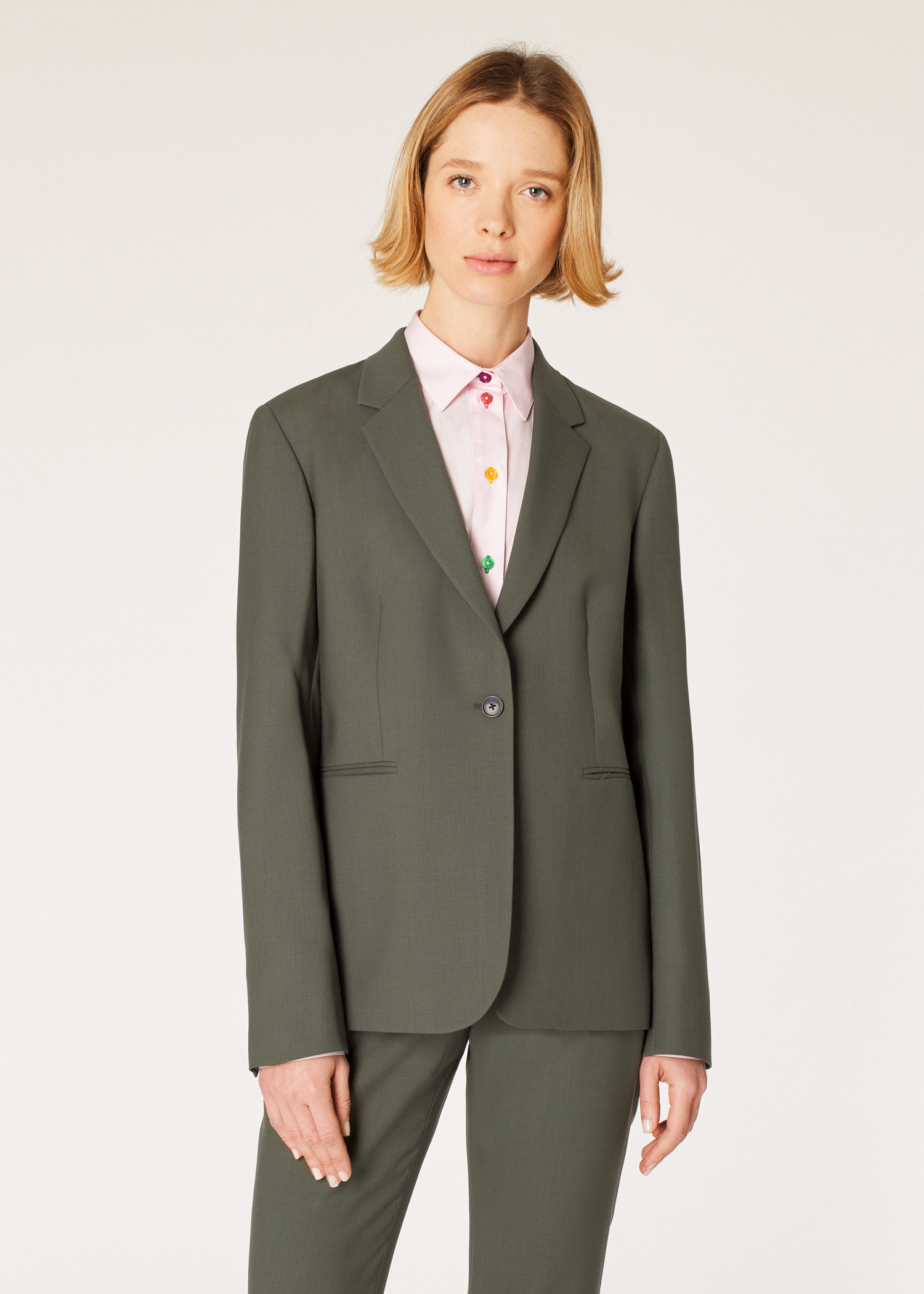 A Suit To Travel In Paul Smith Women S Olive Green One Button Wool