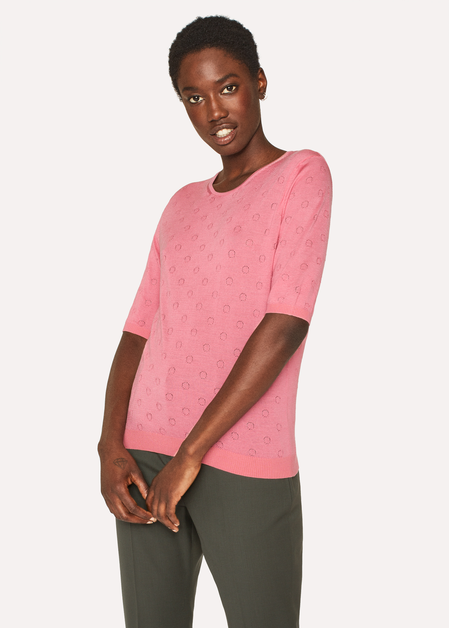 aab9d11ab3e Women's Pink Merino Wool And Silk-Blend Knitted T-Shirt - Paul Smith ...