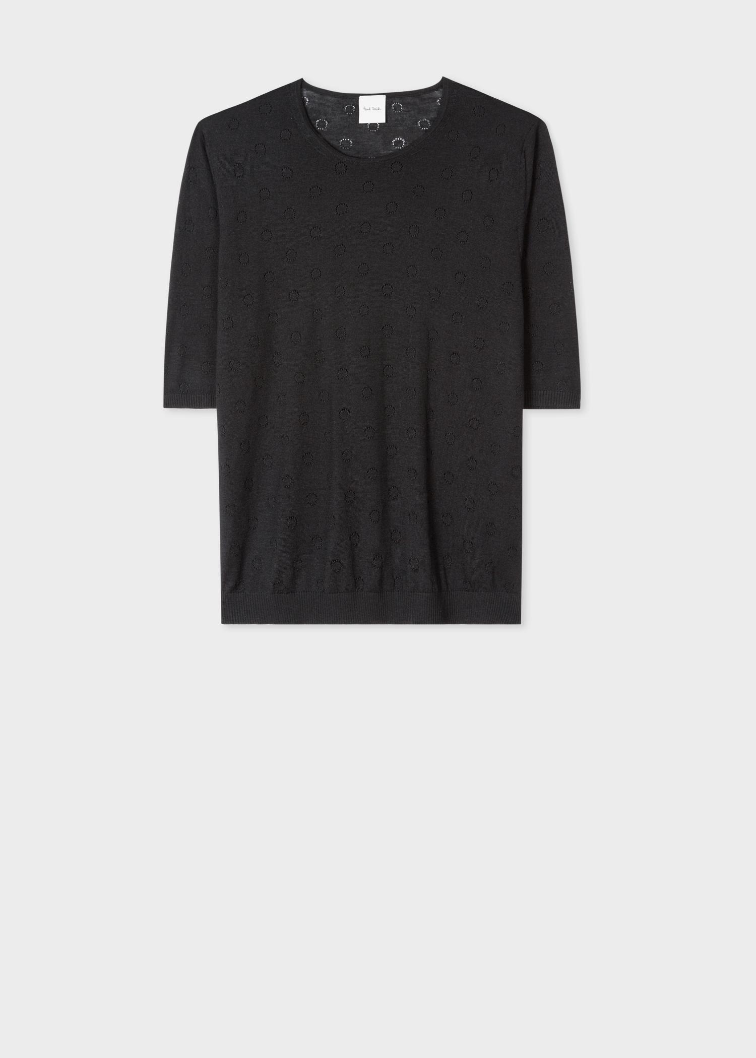 27e150c63fc Women's Black Merino Wool And Silk-Blend Knitted T-Shirt Paul Smith