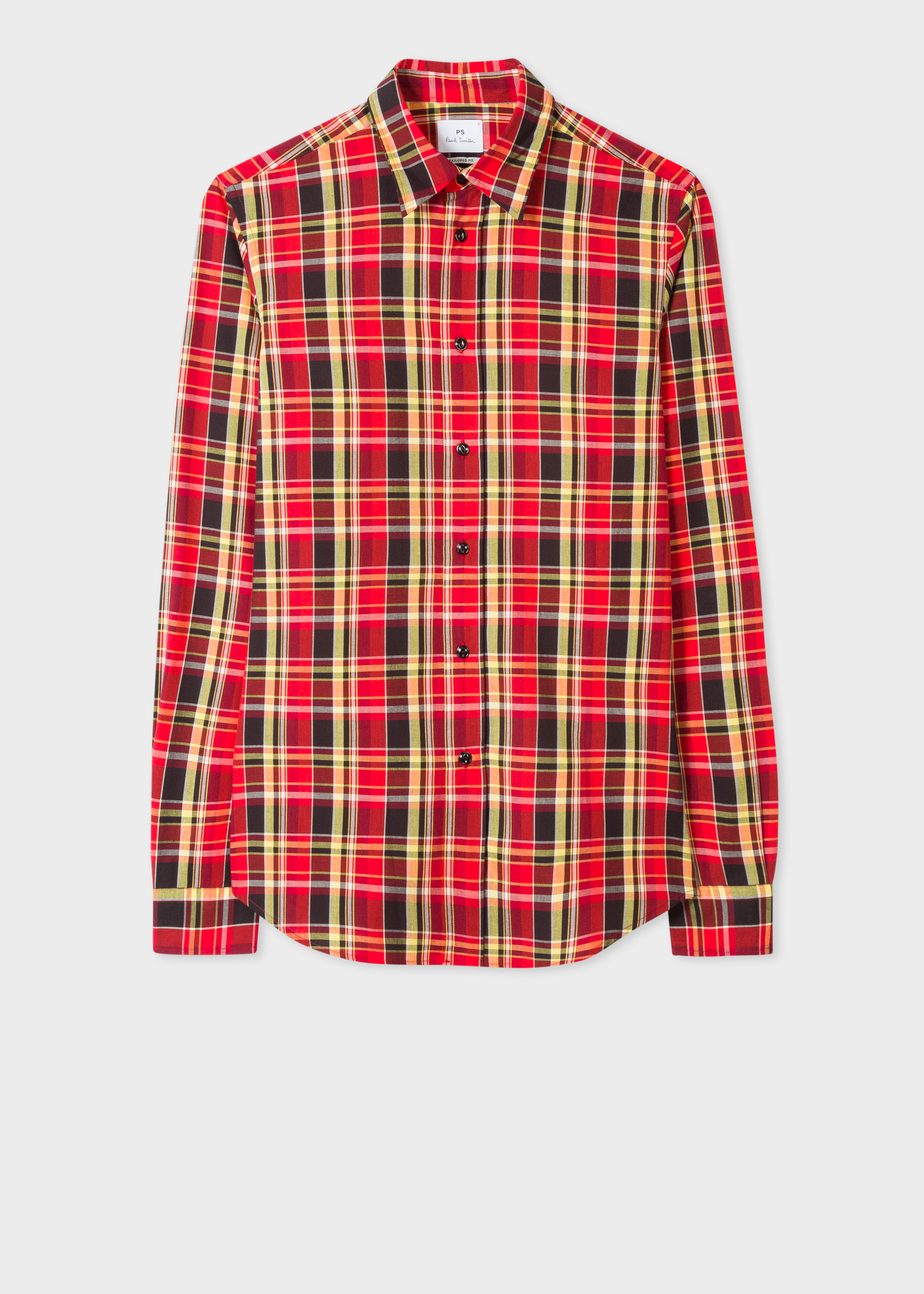57d0022f5b3447 Front view - Men's Tailored-Fit Red And Yellow Check Cotton-Blend Shirt Paul