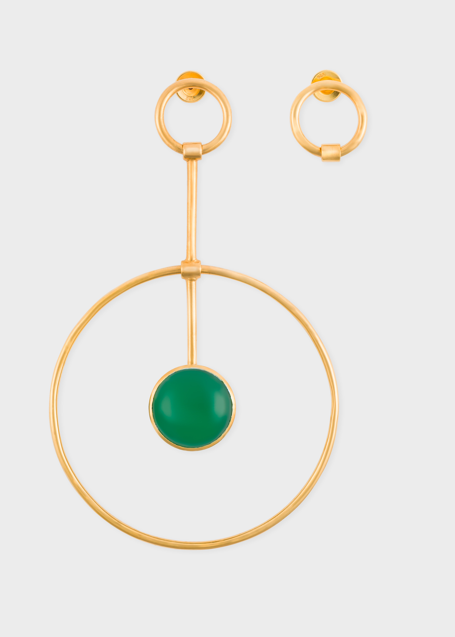 Paul Smith X Rachel Entwistle Gold Pendulum Loop Earrings With Green Onyx Stone