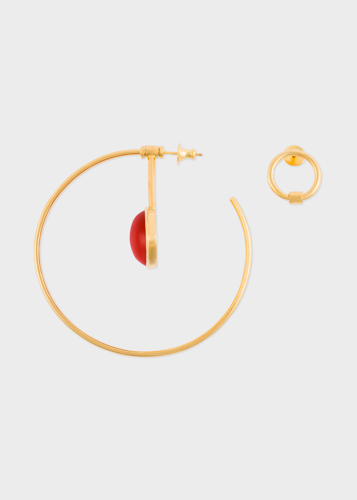 Paul Smith X Rachel Entwistle Gold Pendulum Hoop Earrings With Red C Stone