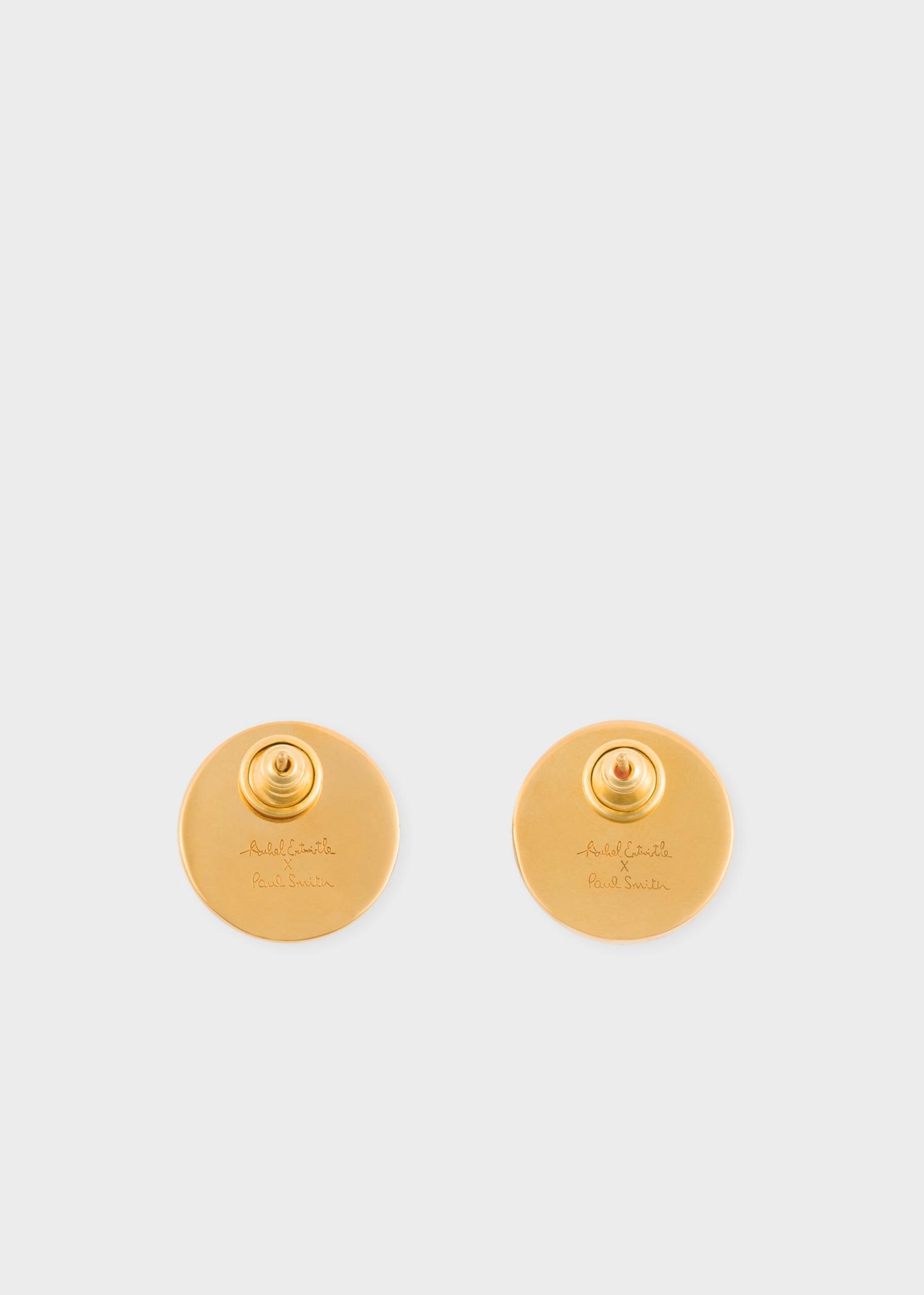 Paul Smith X Rachel Entwistle Gold Stud Earrings With Red C Stone