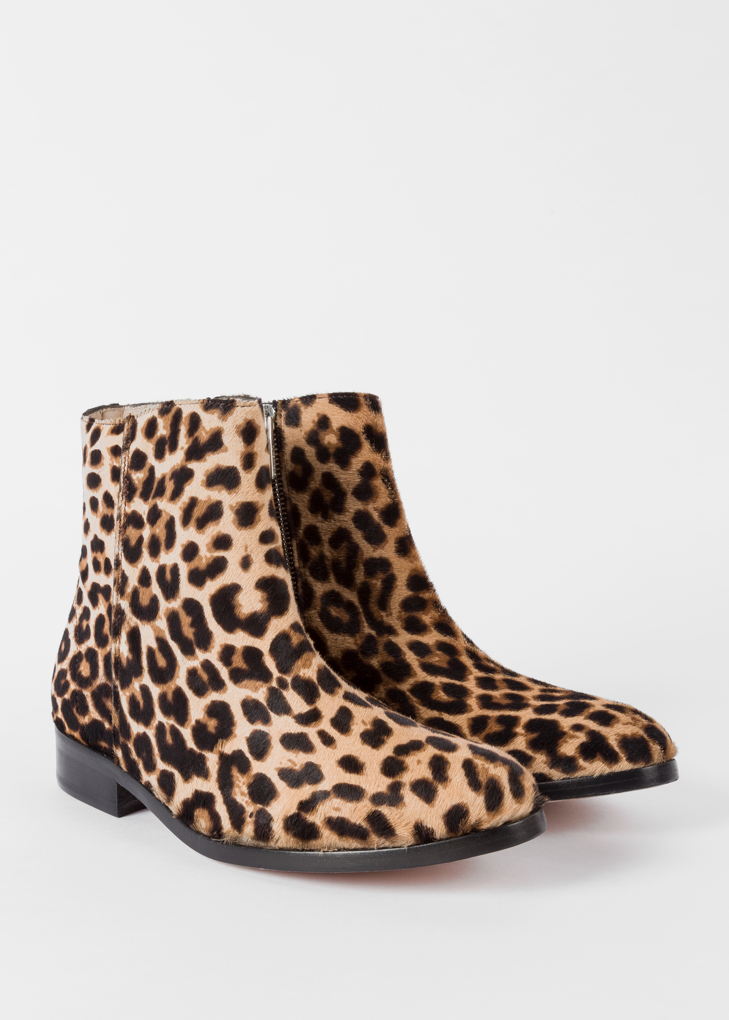 36f2f49e86cf Angled view- Women's Beige Leopard Print 'Brooklyn' Leather Boots Paul Smith