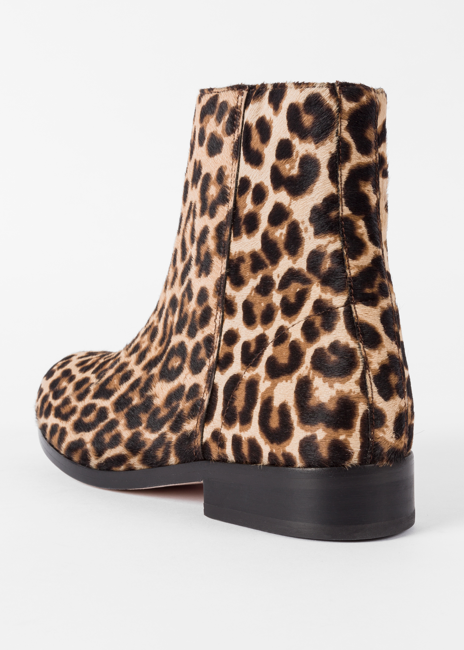 32827fa712af Back view- Women's Beige Leopard Print 'Brooklyn' Leather Boots Paul Smith