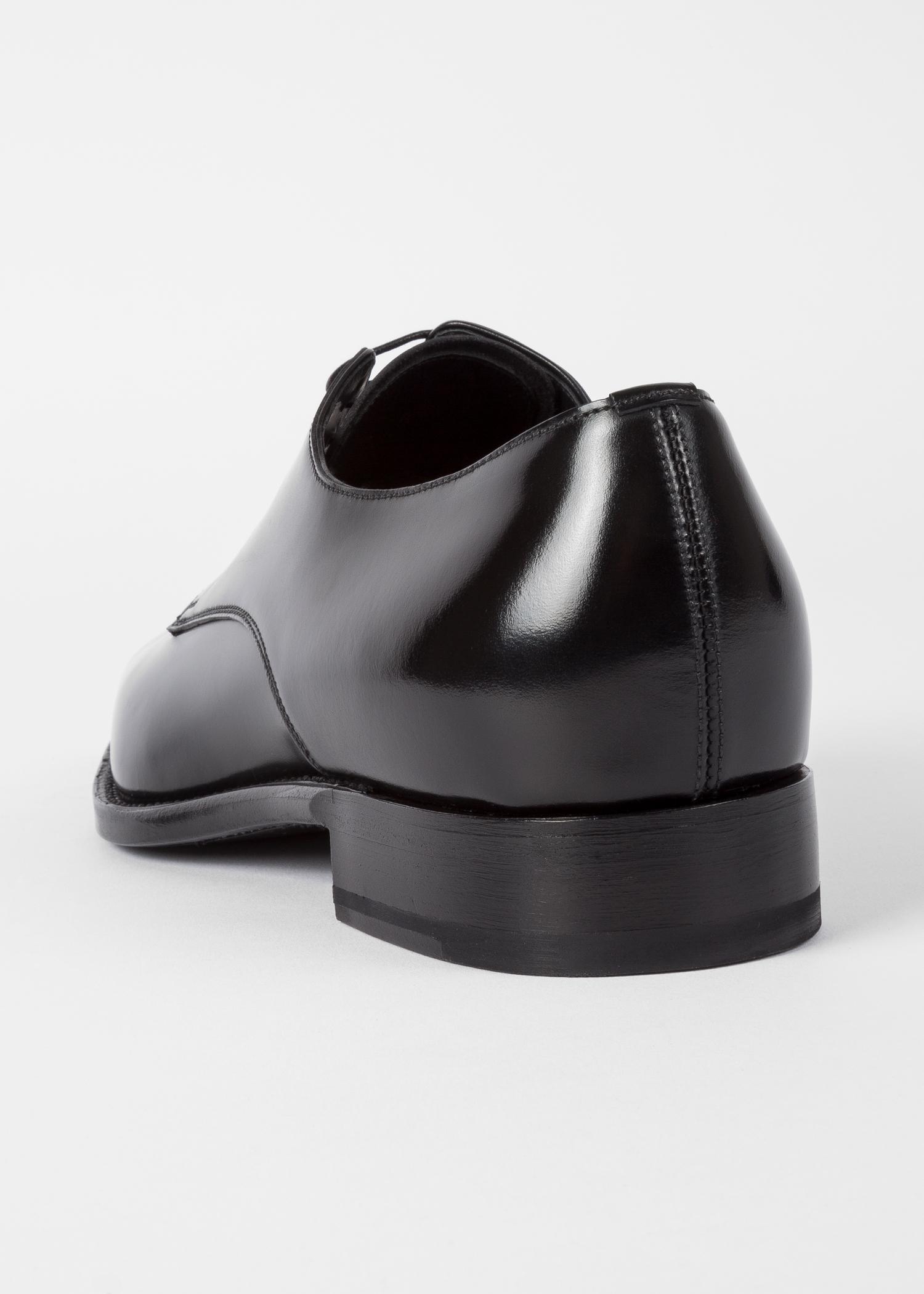 Men S Black Calf Leather Portland Derby Shoes Paul
