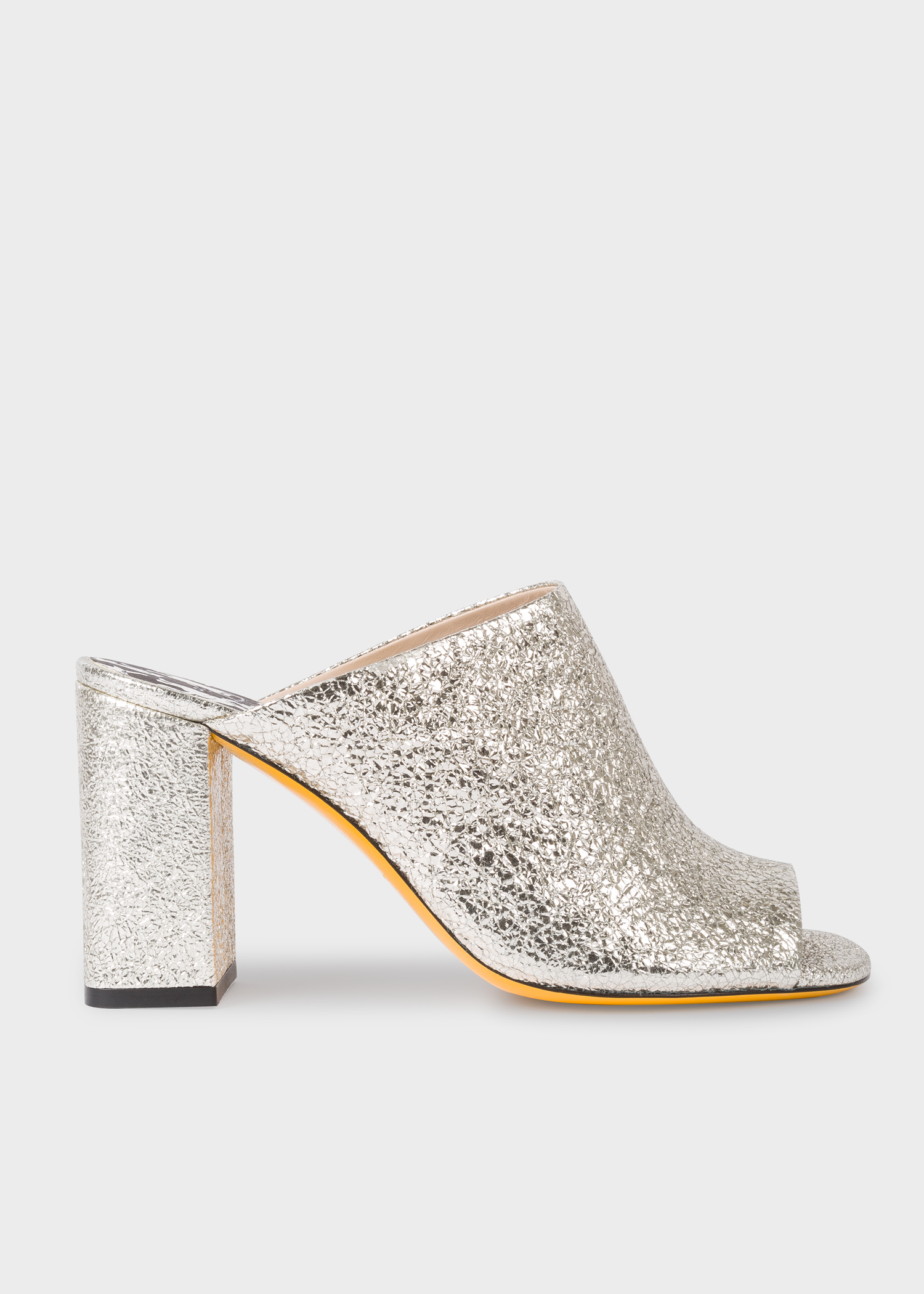 a45d31aec577 Side view - Women's Silver Glitter Heeled Mules Paul Smith