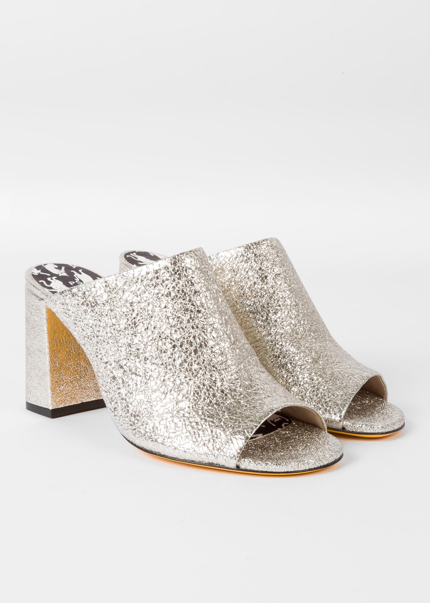 4165fa5aa5c3 Angled view - Women's Silver Glitter Heeled Mules Paul Smith